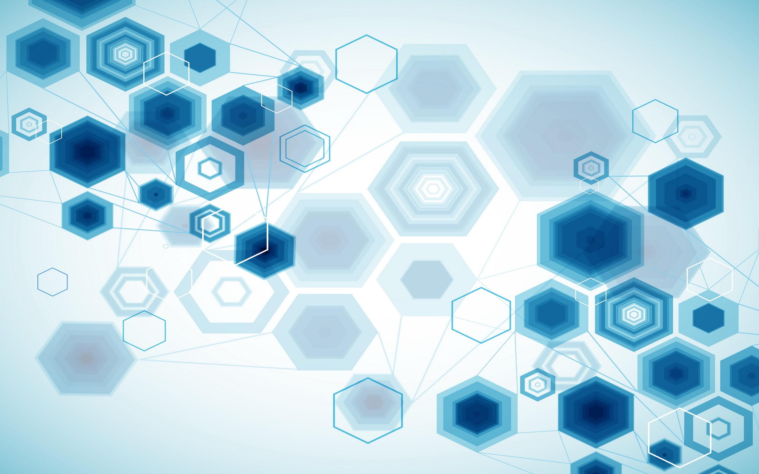 Res: 2560x1600, ... Blue hexagons HD Wallpaper