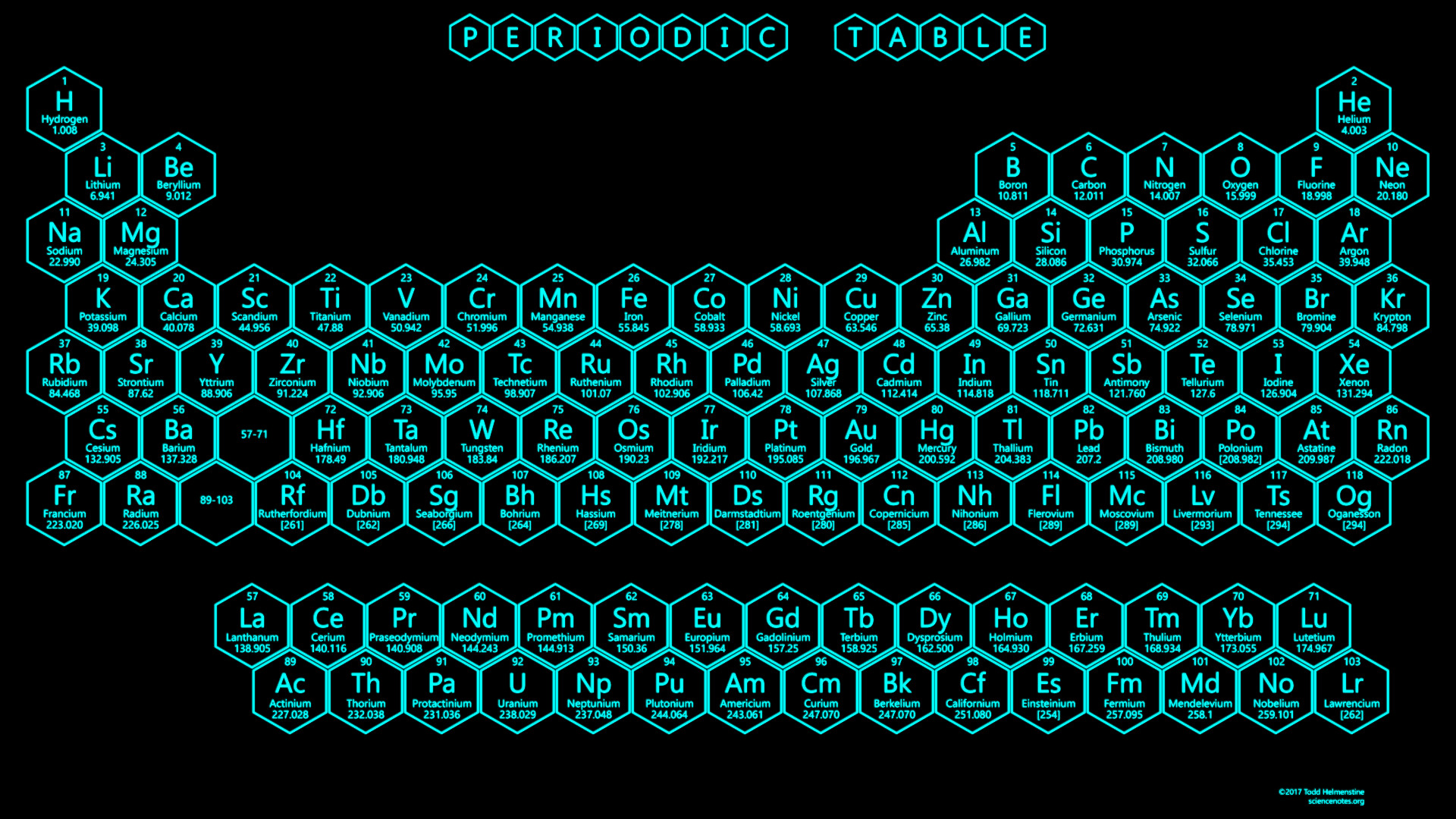Res: 1920x1080, Light Blue Neon Honeycomb Periodic Table - 2017 Edition