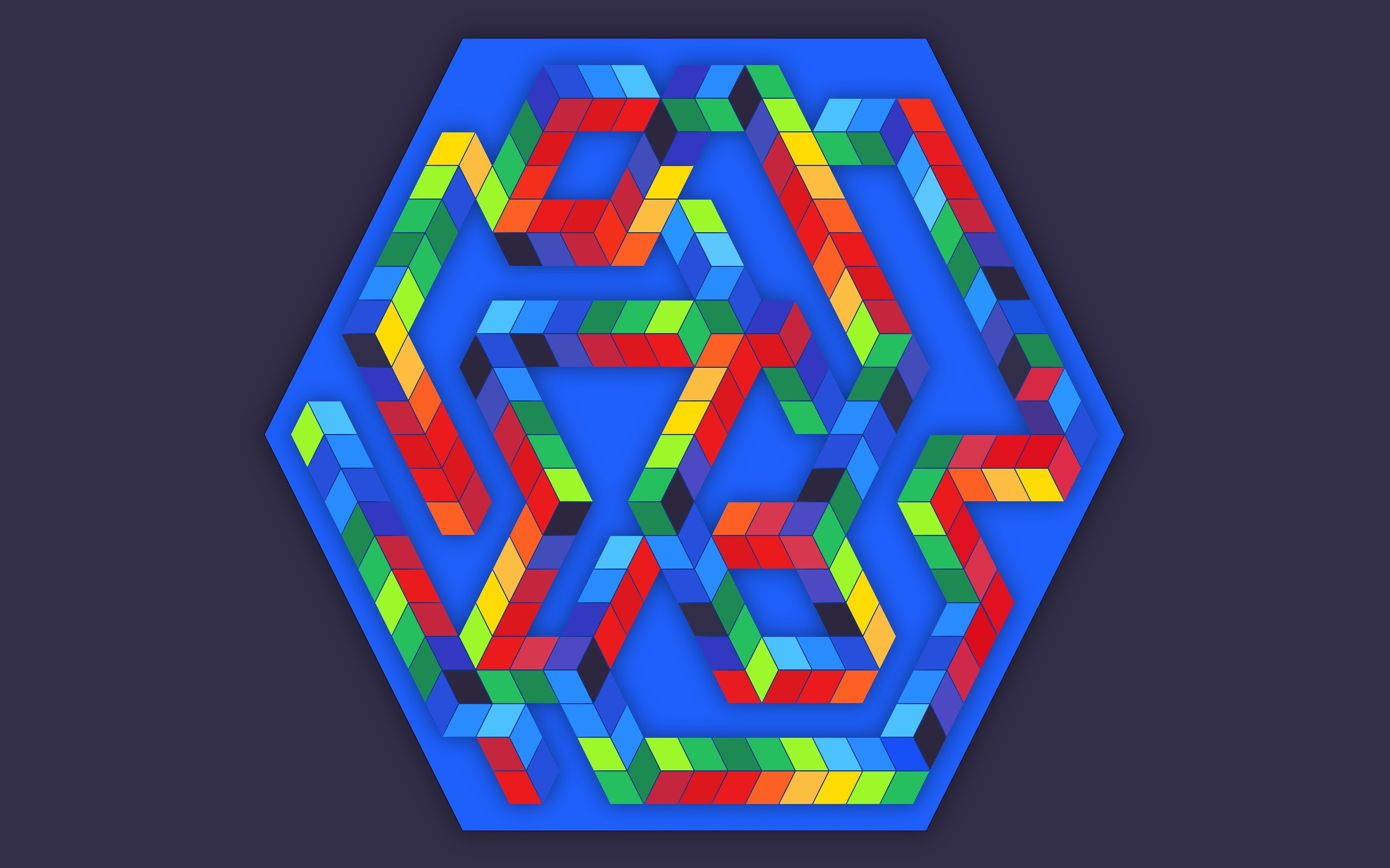 Res: 2560x1600, minimalism digital art cube 3d blue hexagon colorful simple background  abstract optical illusion wallpaper and background