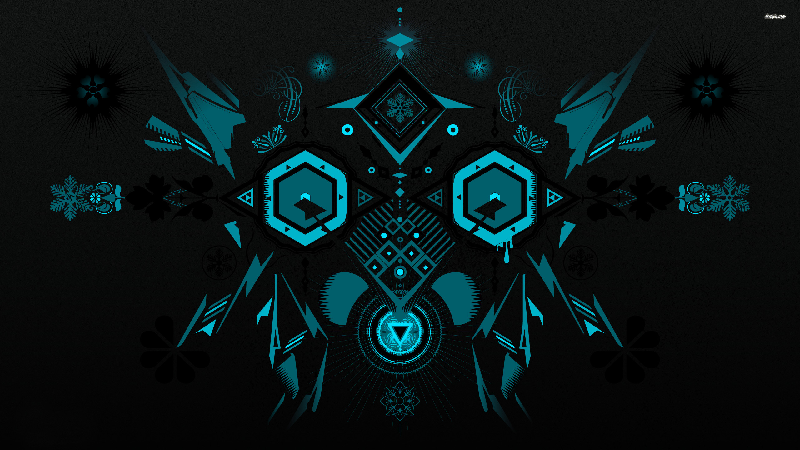 Res: 2560x1440, ... Blue shapes glowing in the darkness wallpaper  ...