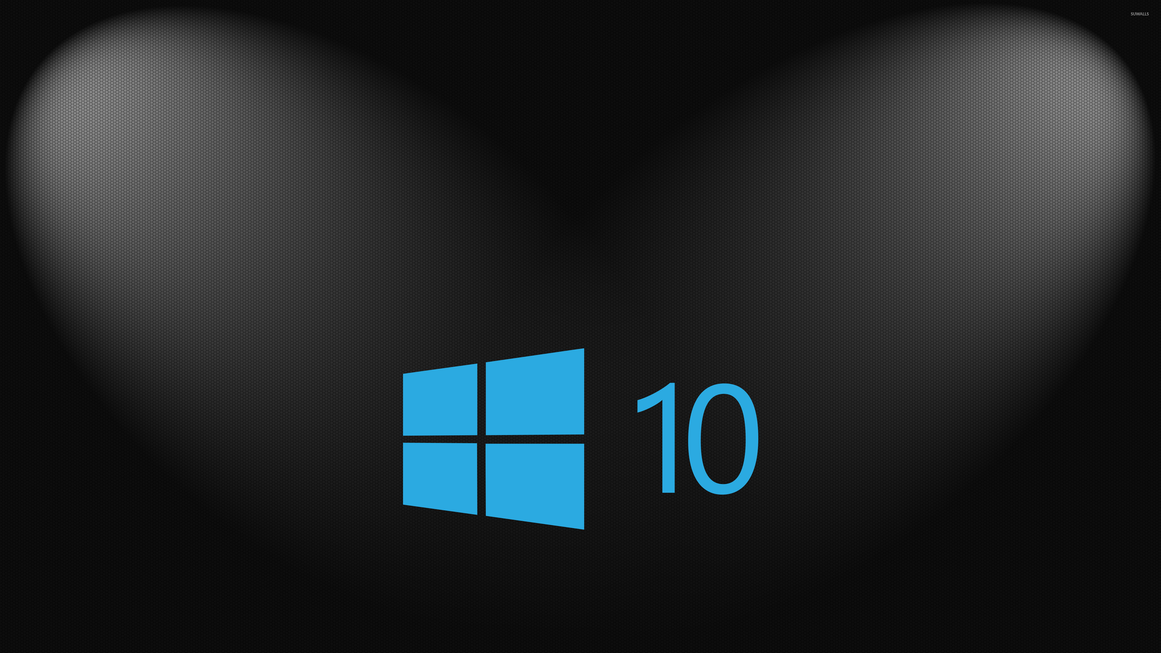 Res: 3840x2160, Windows 10 simple blue logo on hexagon pattern wallpaper