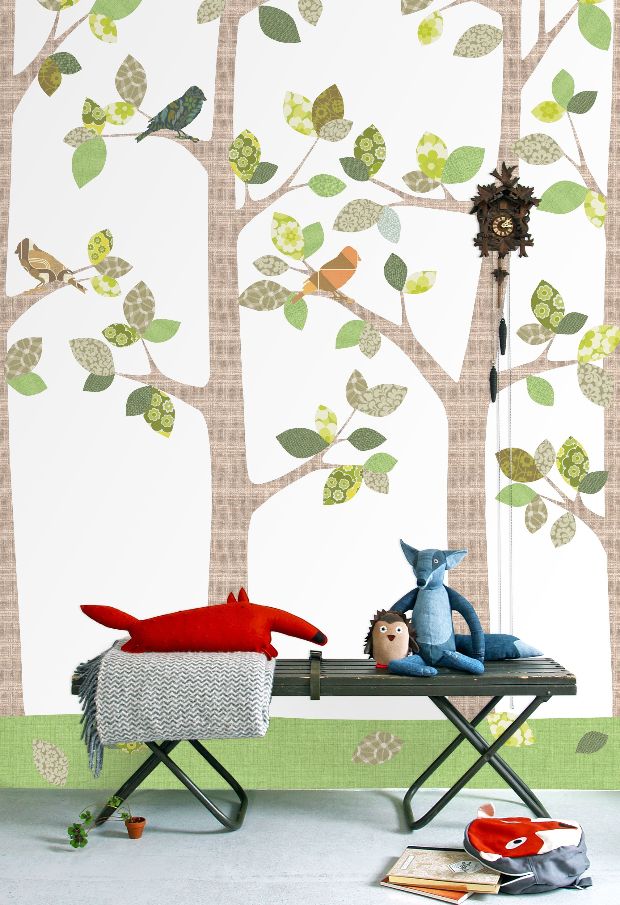 Res: 2007x2928, Gorgeous woodland tree wallpaper - Woodland Tree Scene Panel by INKE from  Nubie. http: