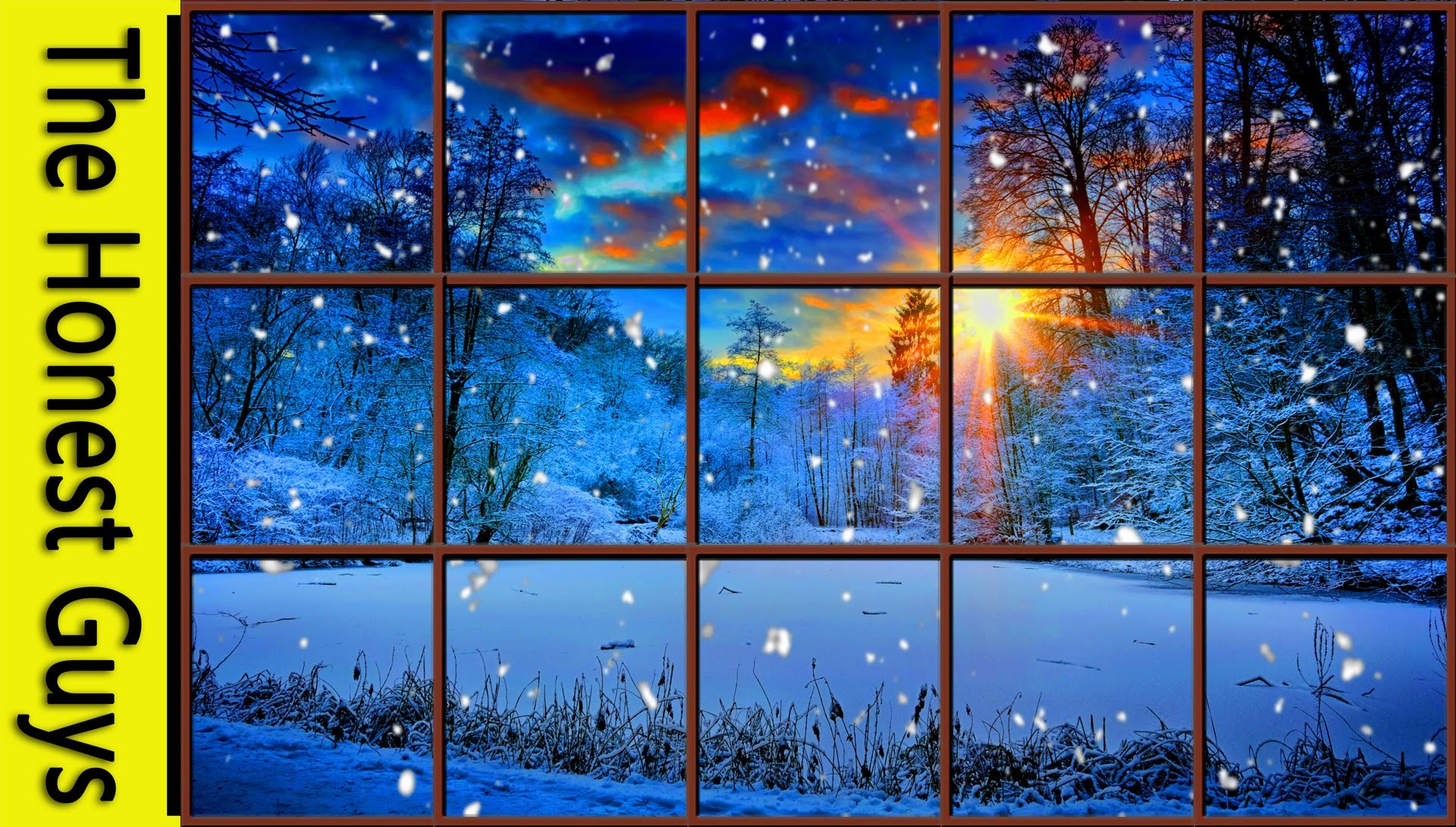 Res: 1920x1090, WINTER WINDOW SNOW SCENE (4K) - Living Wallpaper with Ambient Fireplace  Sounds - YouTube