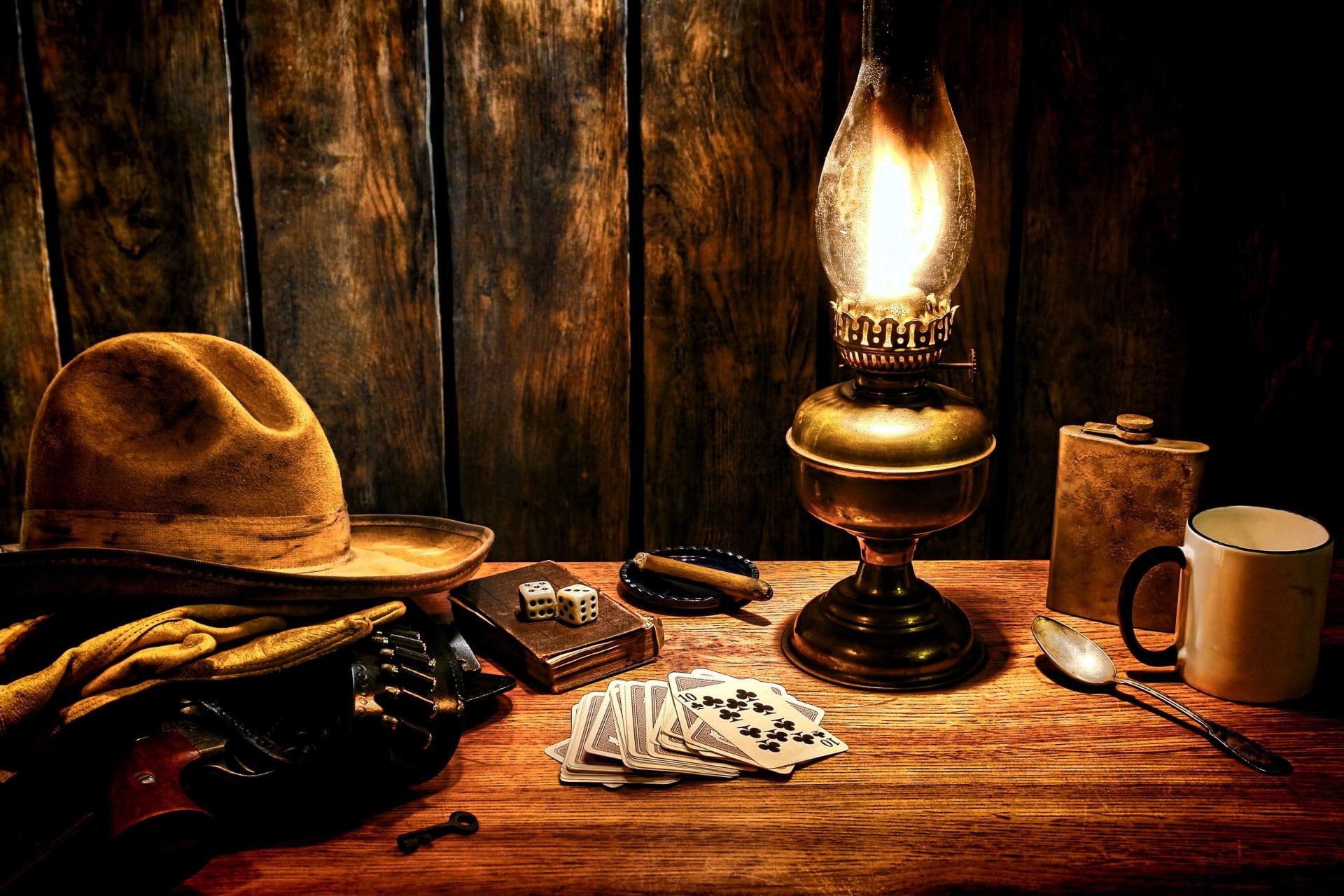 Res: 1920x1280, cowboy hat beside kerosene lamp illustratio HD wallpaper