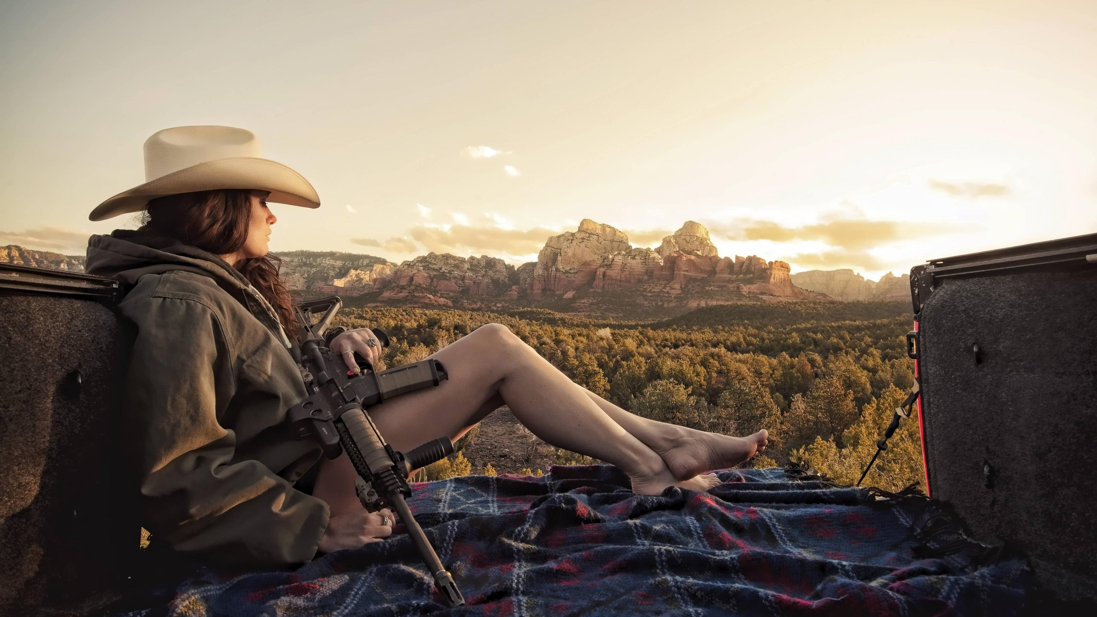 Res: 3532x1987, women barefoot legs assault rifle cowboy hats wallpaper and background