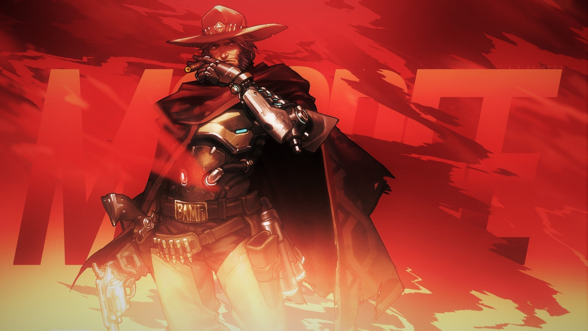 Res: 1920x1080, mccree overwatch pc gaming computer blizzard entertainment overwatch dark  red hat cowboy hats cowboy boots pistol cape wallpaper and background