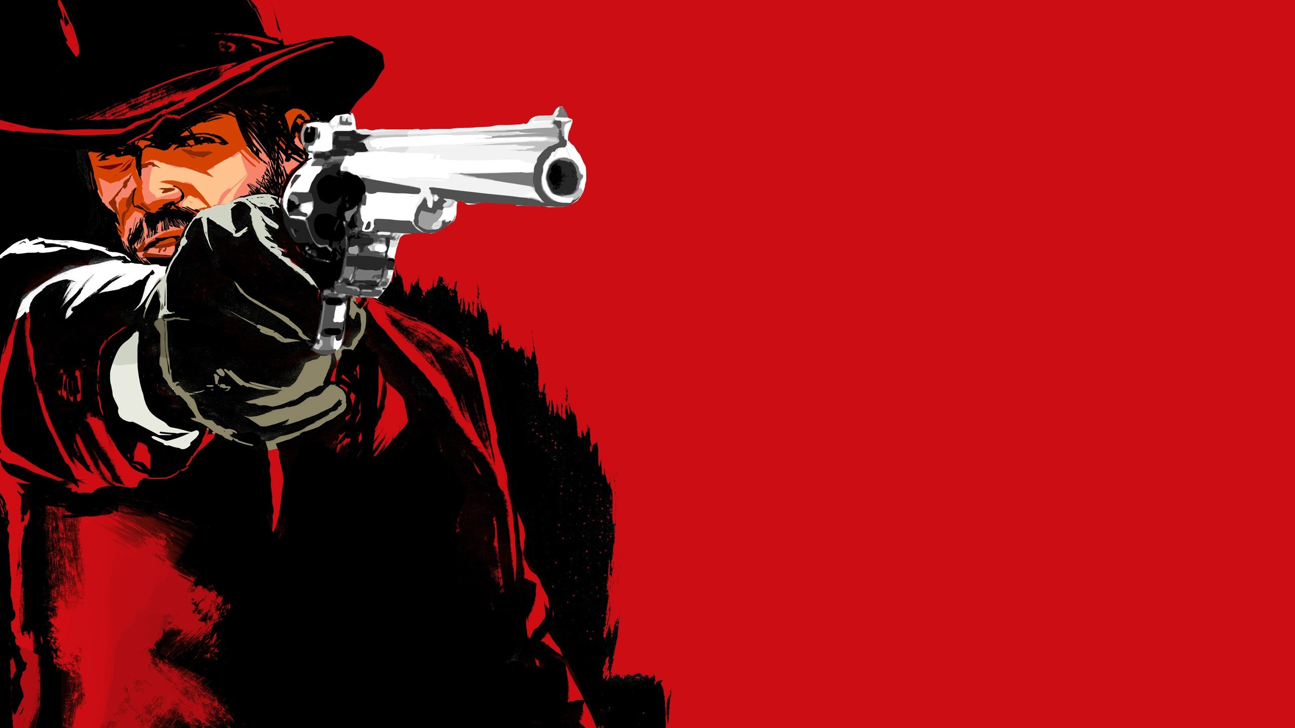 Res: 2560x1440,  Wallpaper red dead redemption game, pistol, cowboy, hat