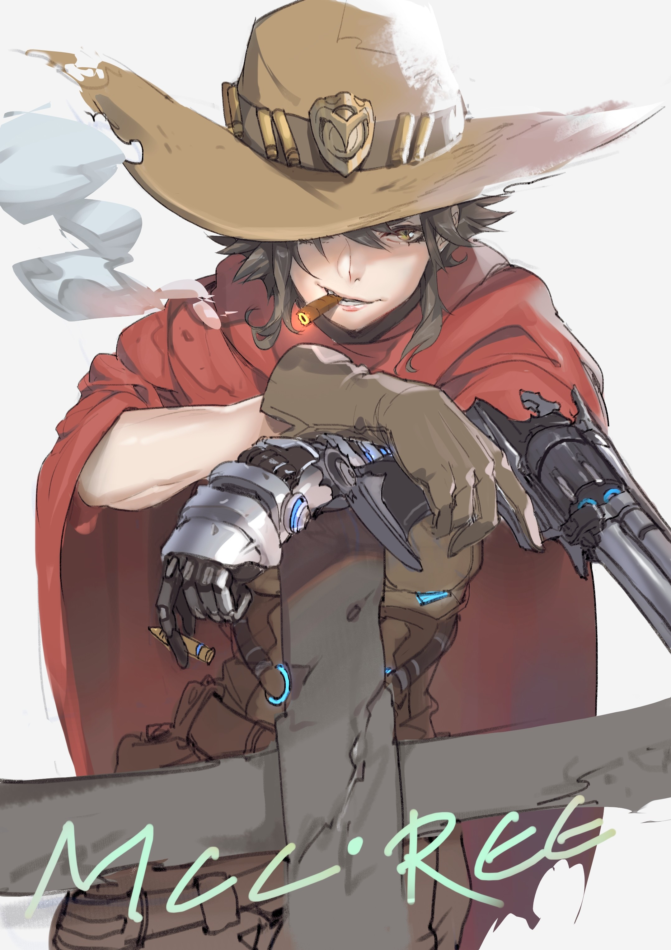 Res: 2156x3050, Tags: Anime, Pixiv Id 2370328, Overwatch, McCree, Cowboy Hat, Revolver
