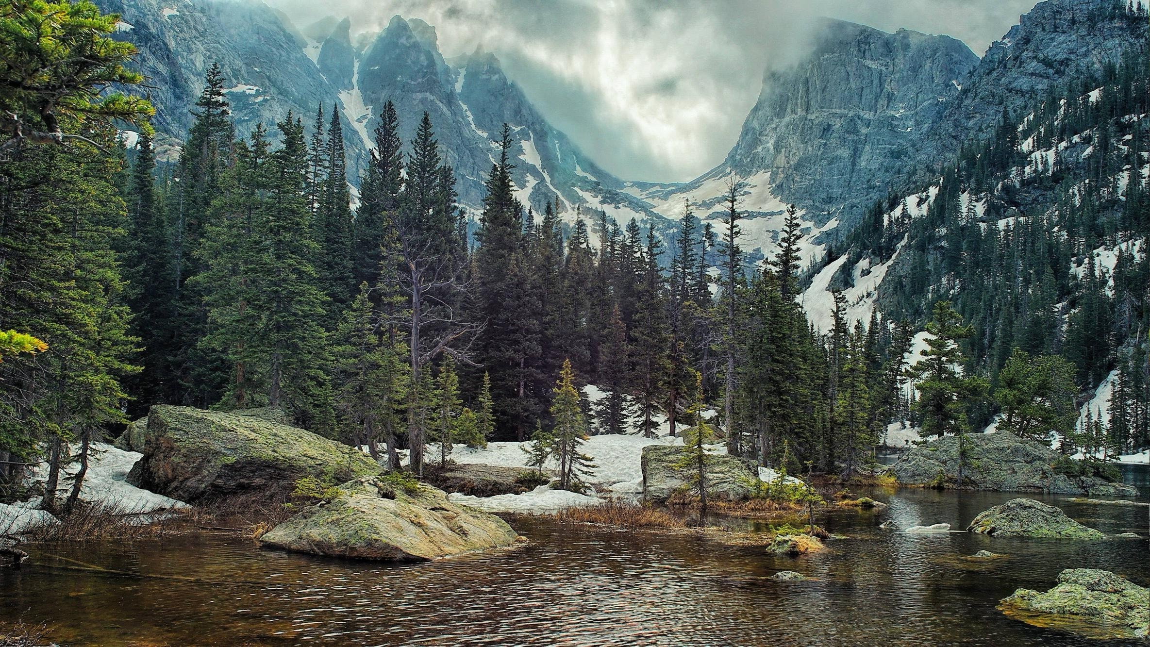 Res: 2369x1333, nature landscape mountain forest lake rock pine trees wallpaper and  background