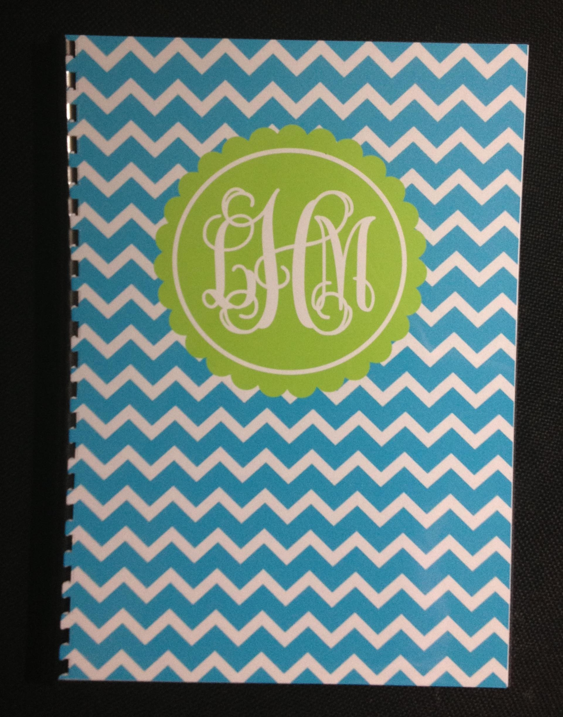 Res: 1921x2449, monogram notebook chevron printable blue green preppy personalised
