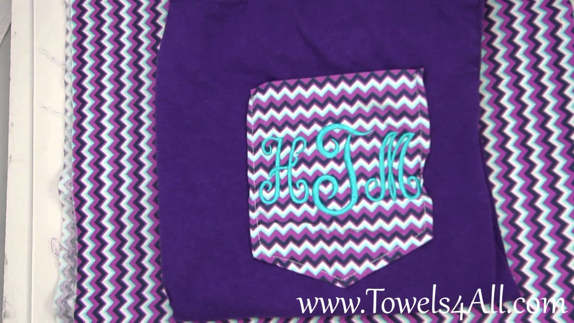 Res: 1920x1080, Chevron Purple Pocket Tee Shirt Monogrammed Initials - video demo