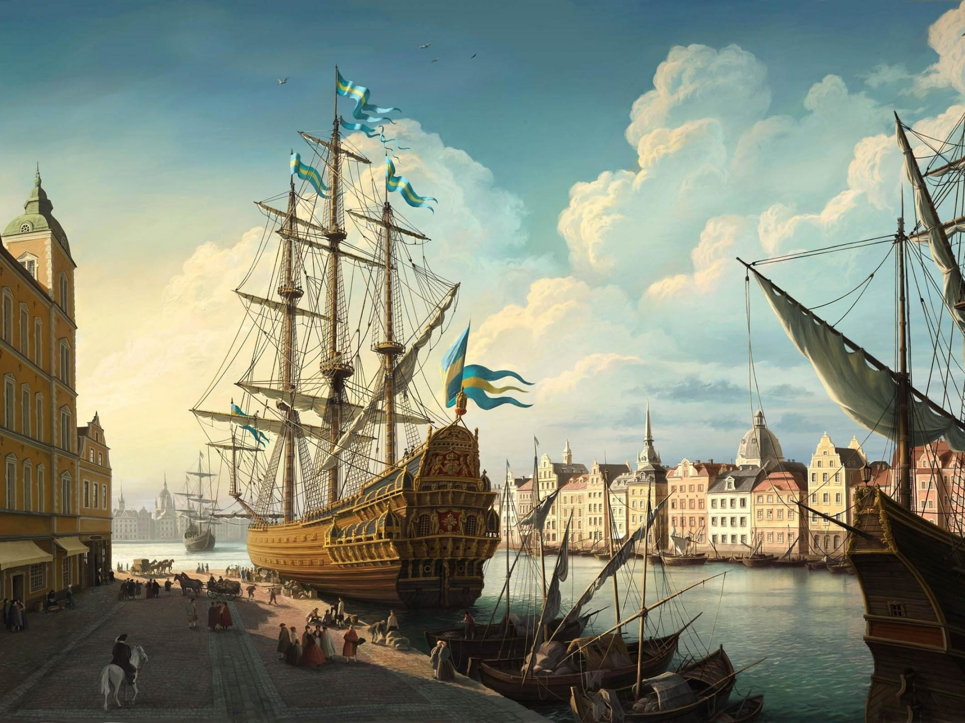 Res: 1920x1440, fantasy-port_painting-backgrounds-wallpapers