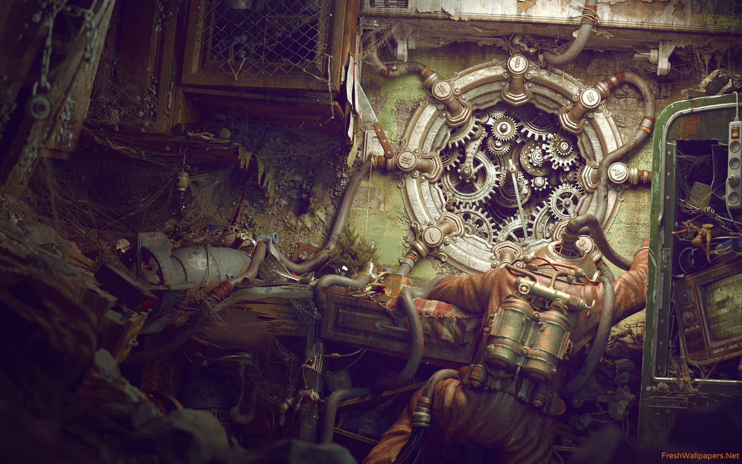 Res: 2560x1600, The Coolest Wallpaper Ever Awesome Steampunk Wallpaper Pipes Wallpapers  Freshwallpapers