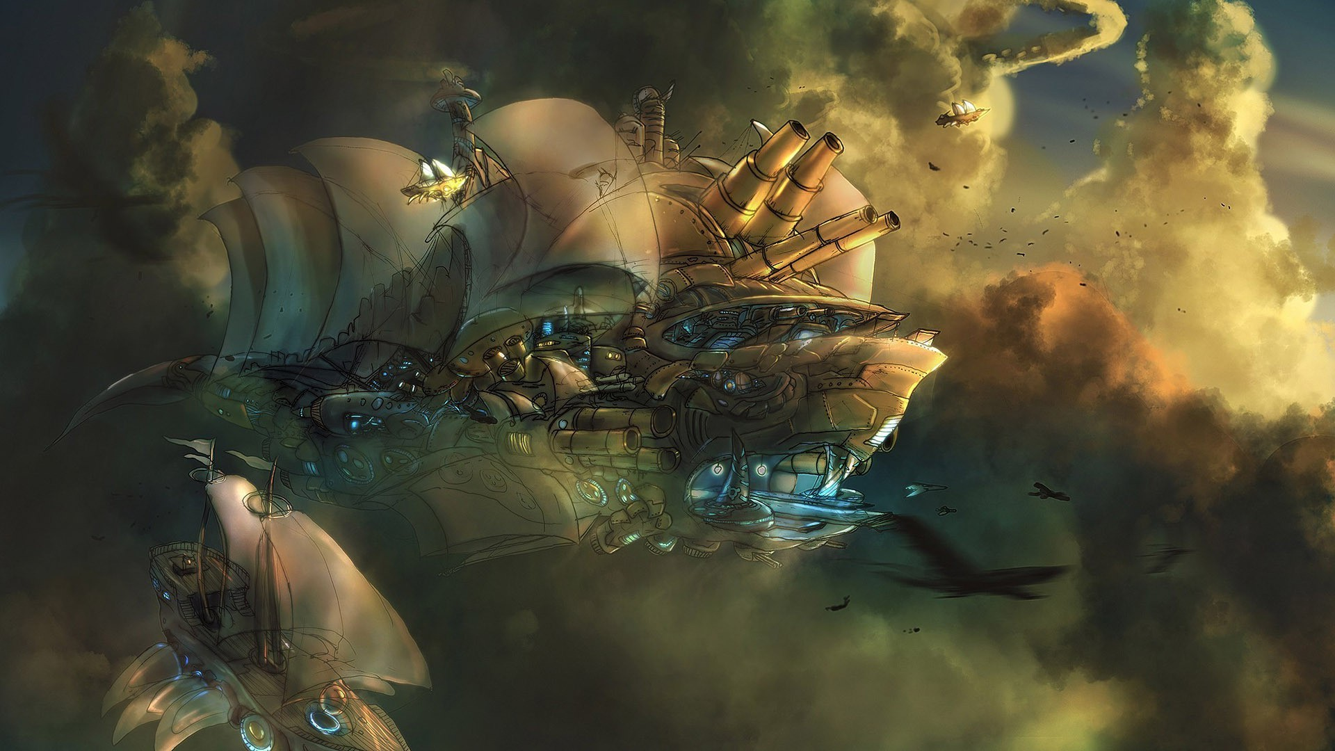 Res: 1920x1080, artwork, Fantasy Art, Concept Art, Steampunk, Aircraft, Clouds Wallpapers HD  / Desktop and Mobile Backgrounds