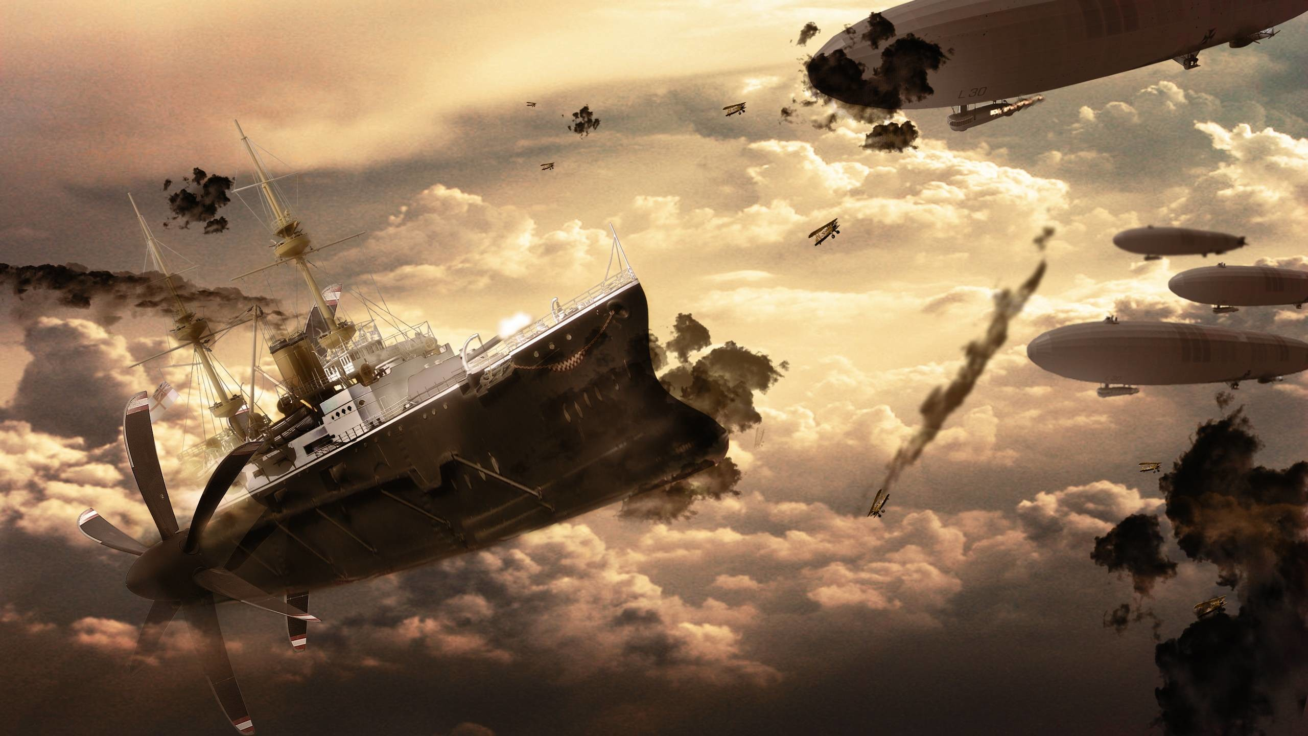 Res: 2560x1440, Wallpapers For > Steampunk Wallpaper Airship