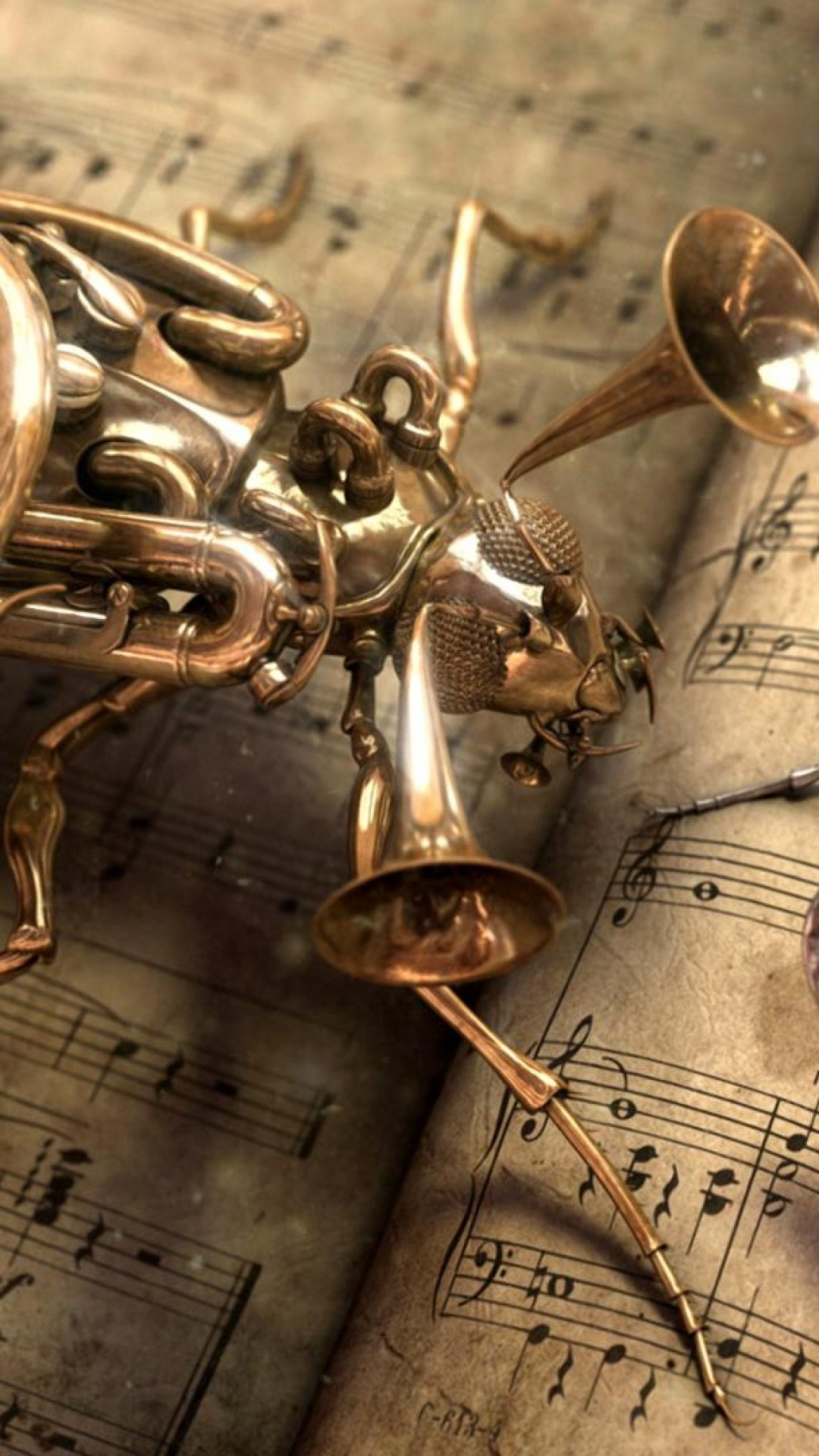 Res: 1080x1920, Musical Bug Steampunk Android Wallpaper ...