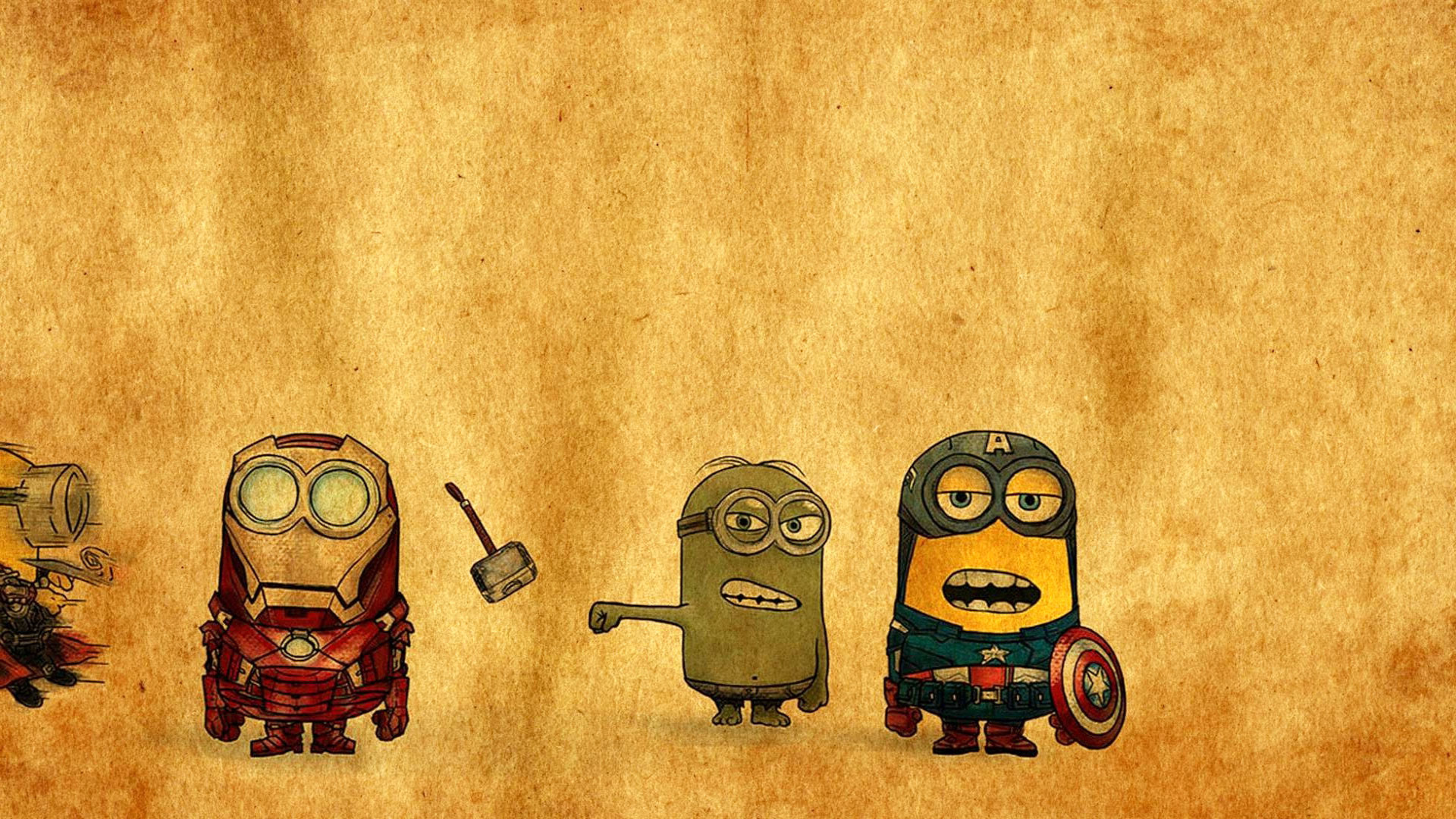 Res: 1920x1080, Minions -Avengers-Drawing-exclusive-HD-for-Desktop-background-Iphone-Ipad-and-and- wallpaper-wp009448