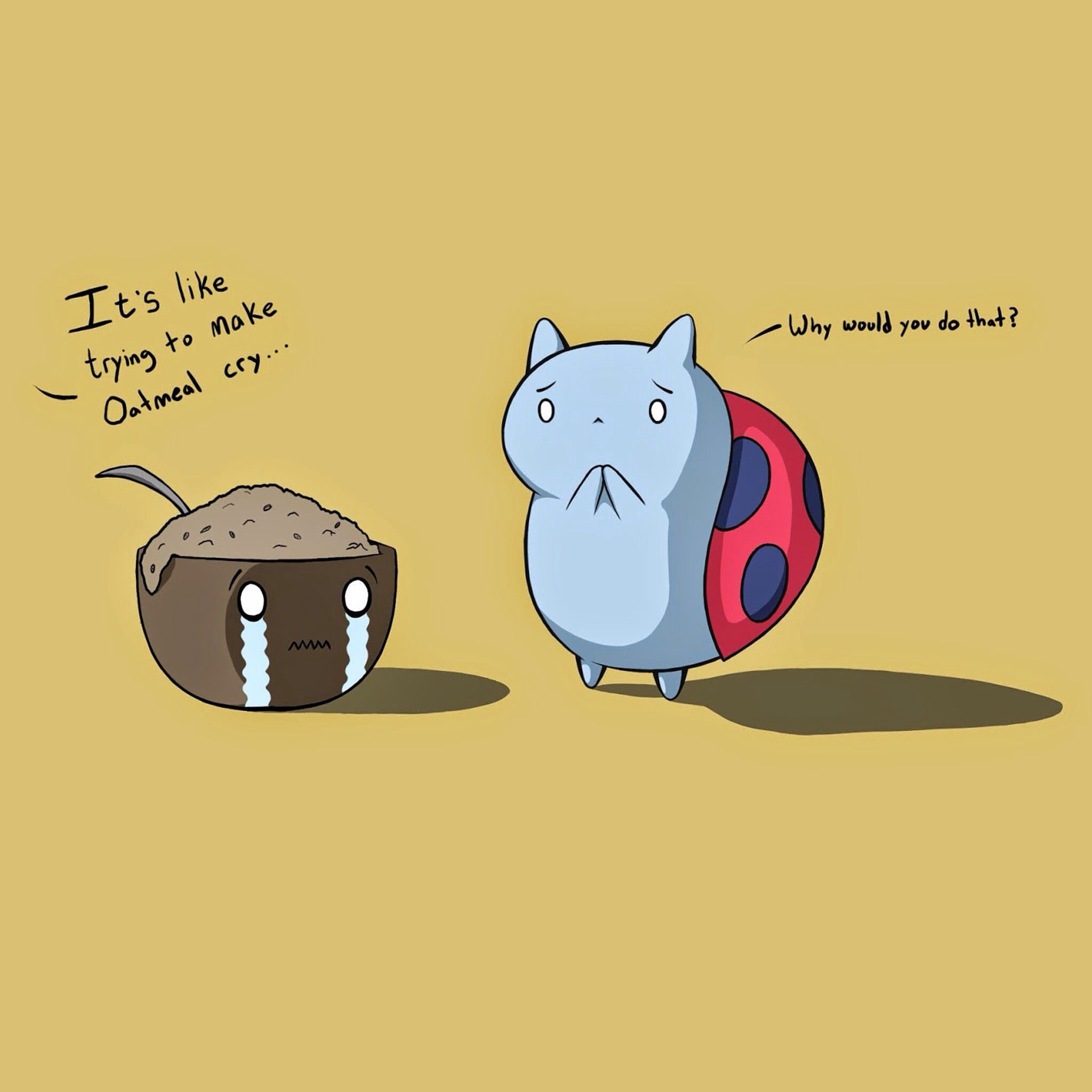 Res: 2048x2048, Oatmeal crying and catbug next to oatmeal