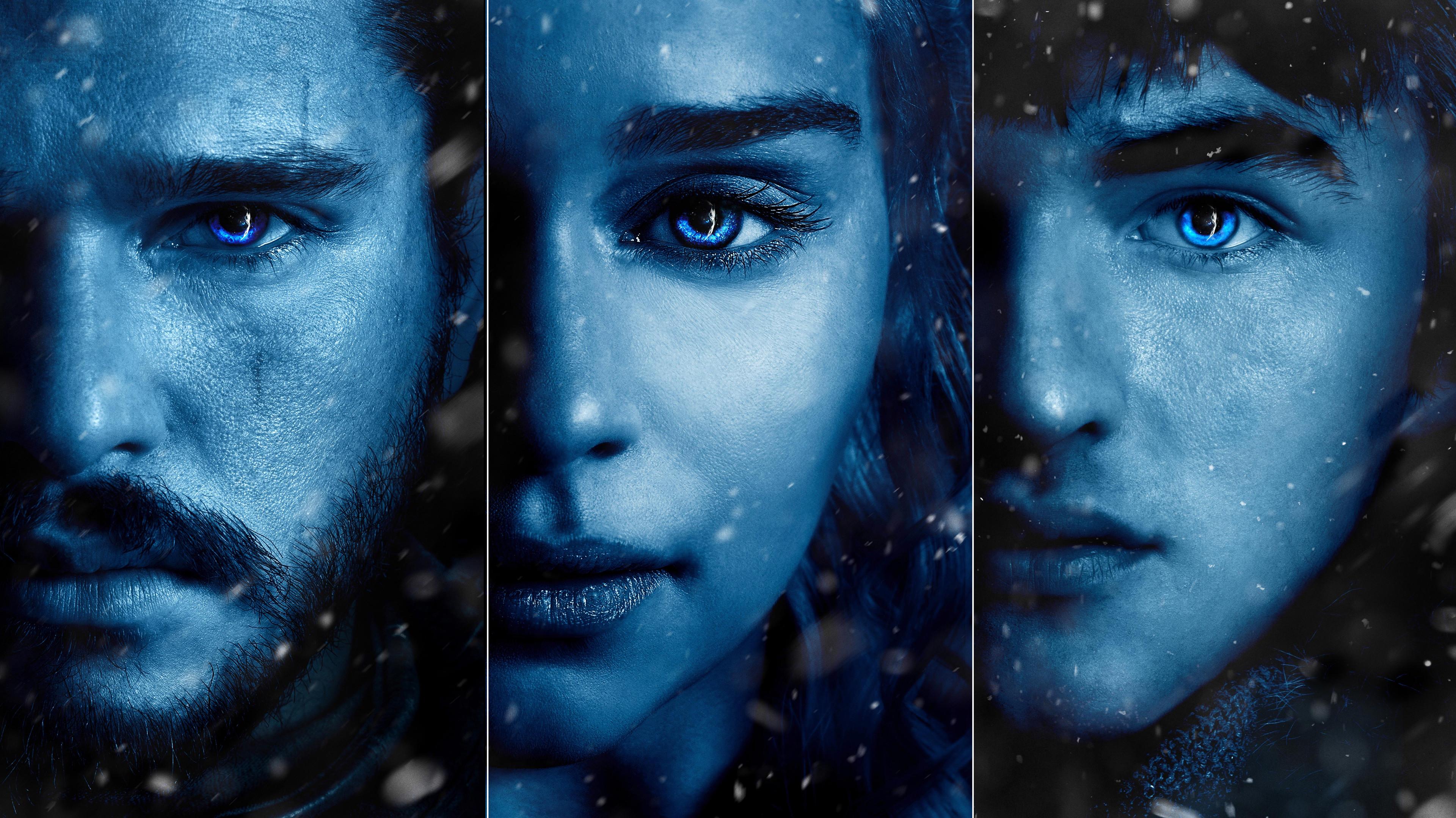 Res: 3840x2160, Jon Snow, Daenerys & Bran