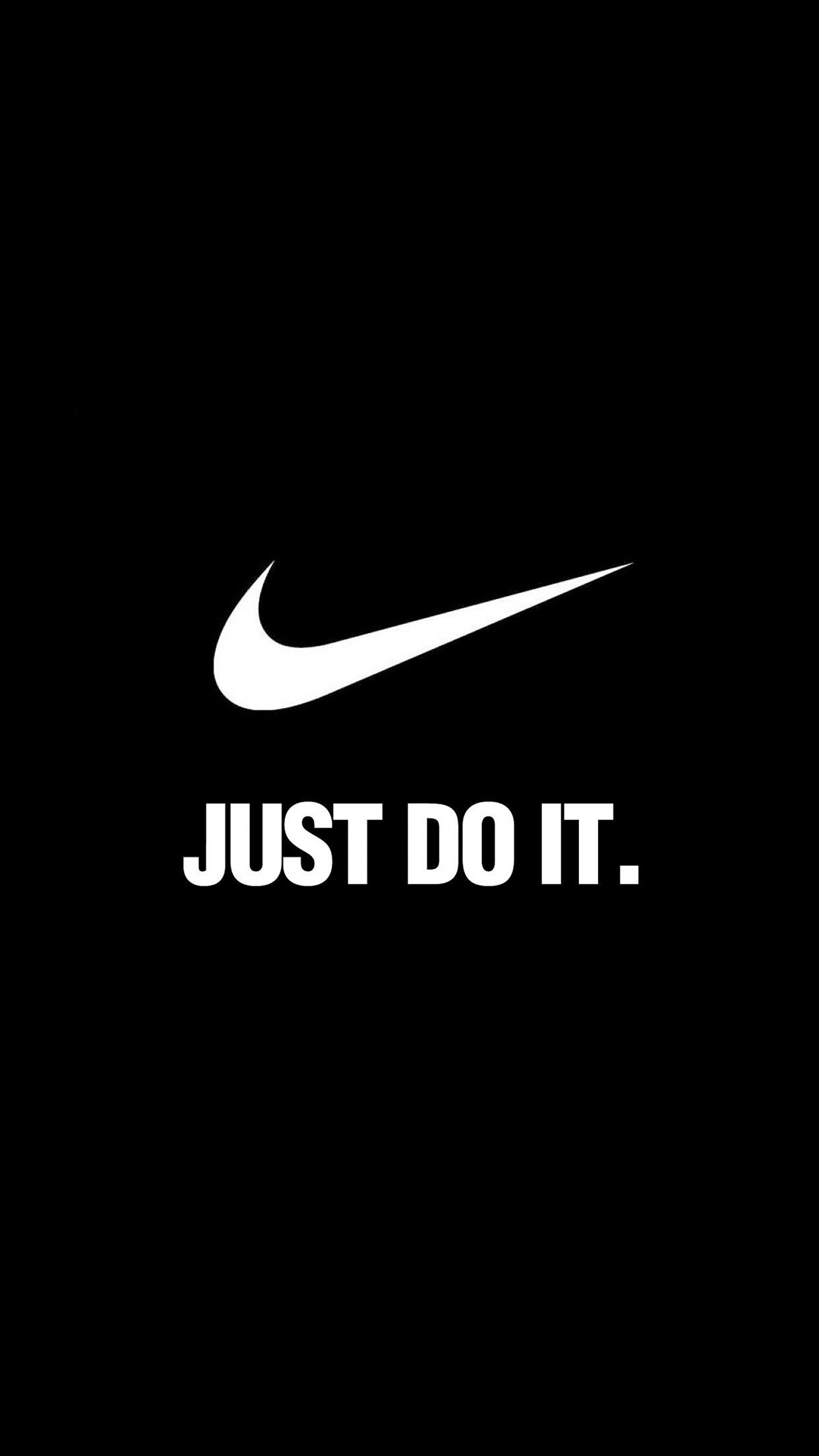 Res: 1242x2208, Logo Nike Brand Just Do It Motivation Sport Minimalism Black White HD  iPhone 6 plus Wallpaper