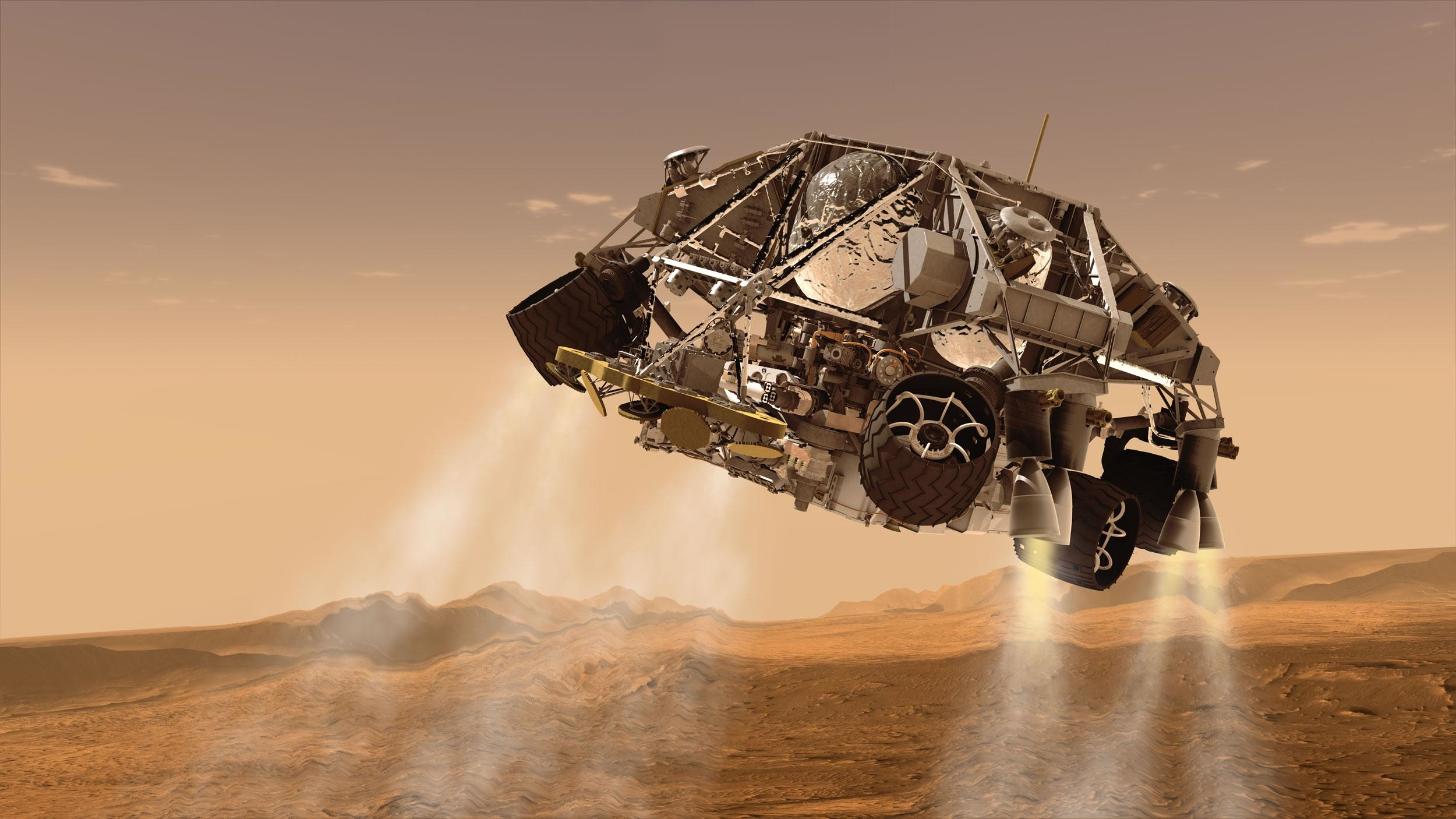 Res: 2500x1406, Curiosity landing: Powered descent phase. Click to view full image