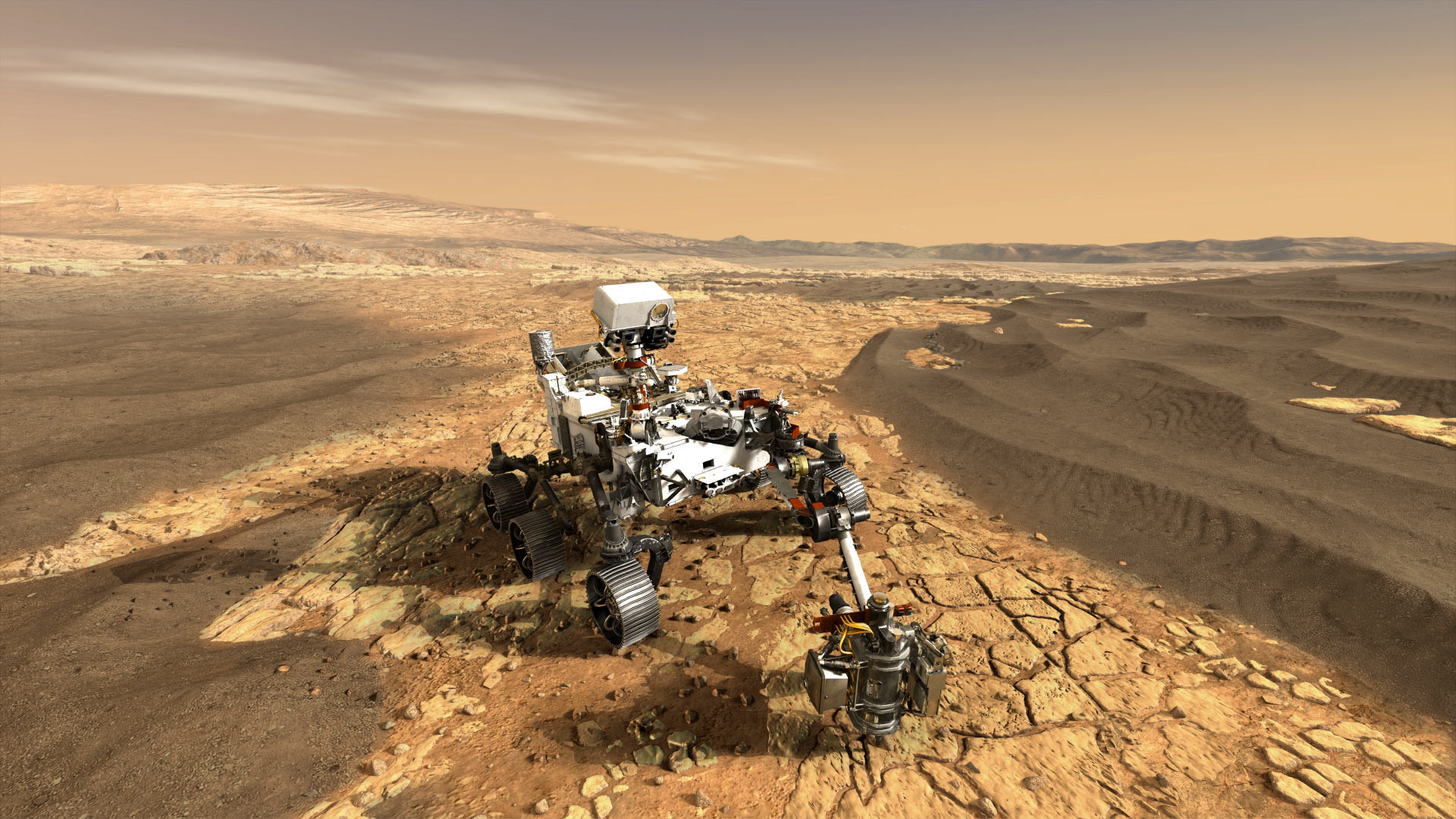 Res: 1920x1080, This artist's concept depicts NASA's Mars 2020 rover on the surface of the  Red Planet.