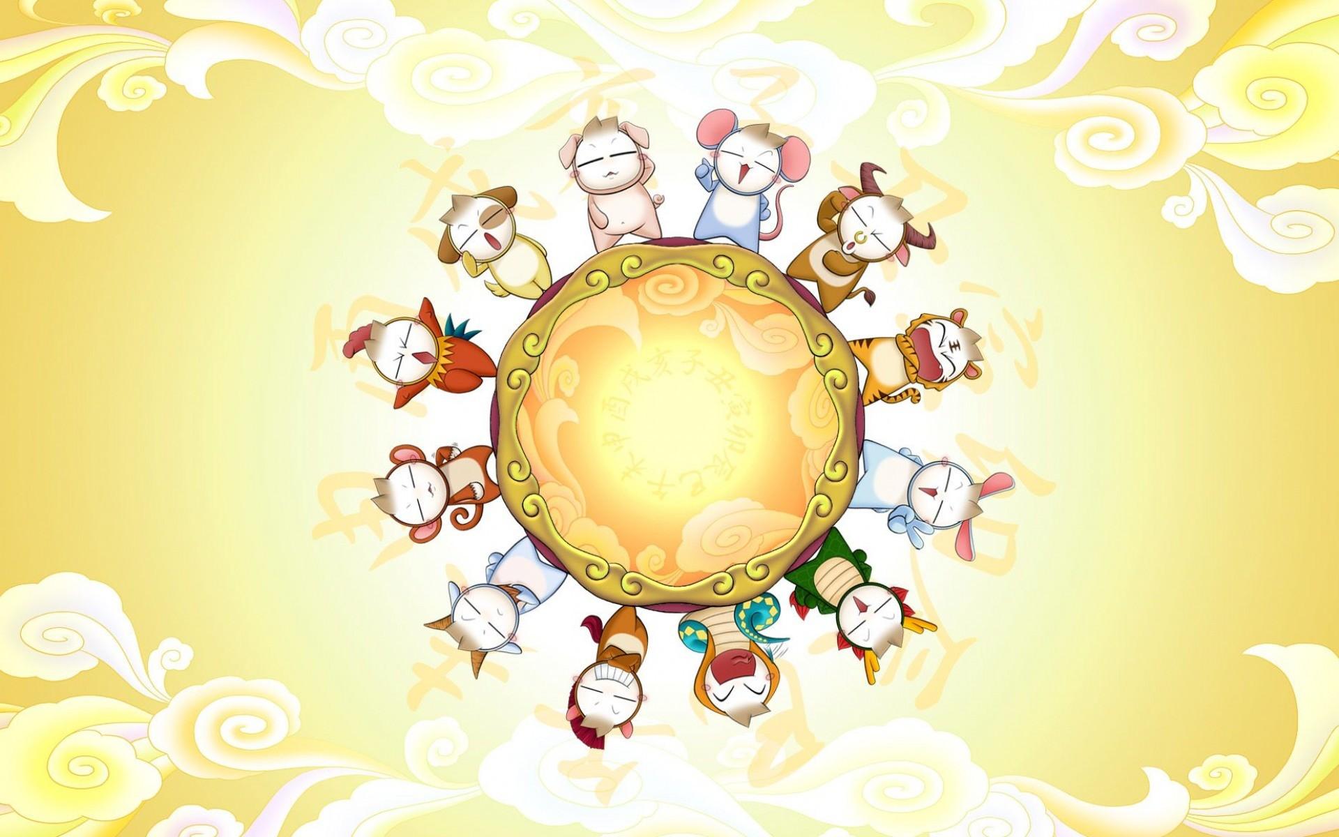 Res: 1920x1200, cute, cartoon, chinese, calendar, astrology, animal