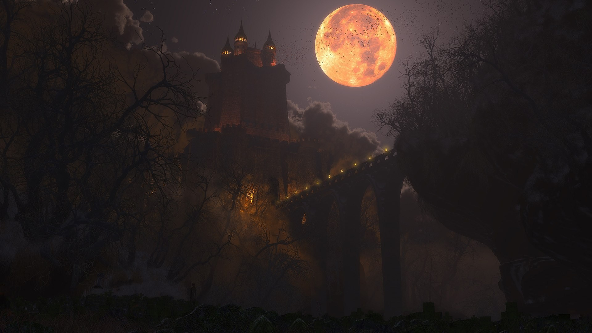 Res: 1920x1080, Moon over the castle of Dracula