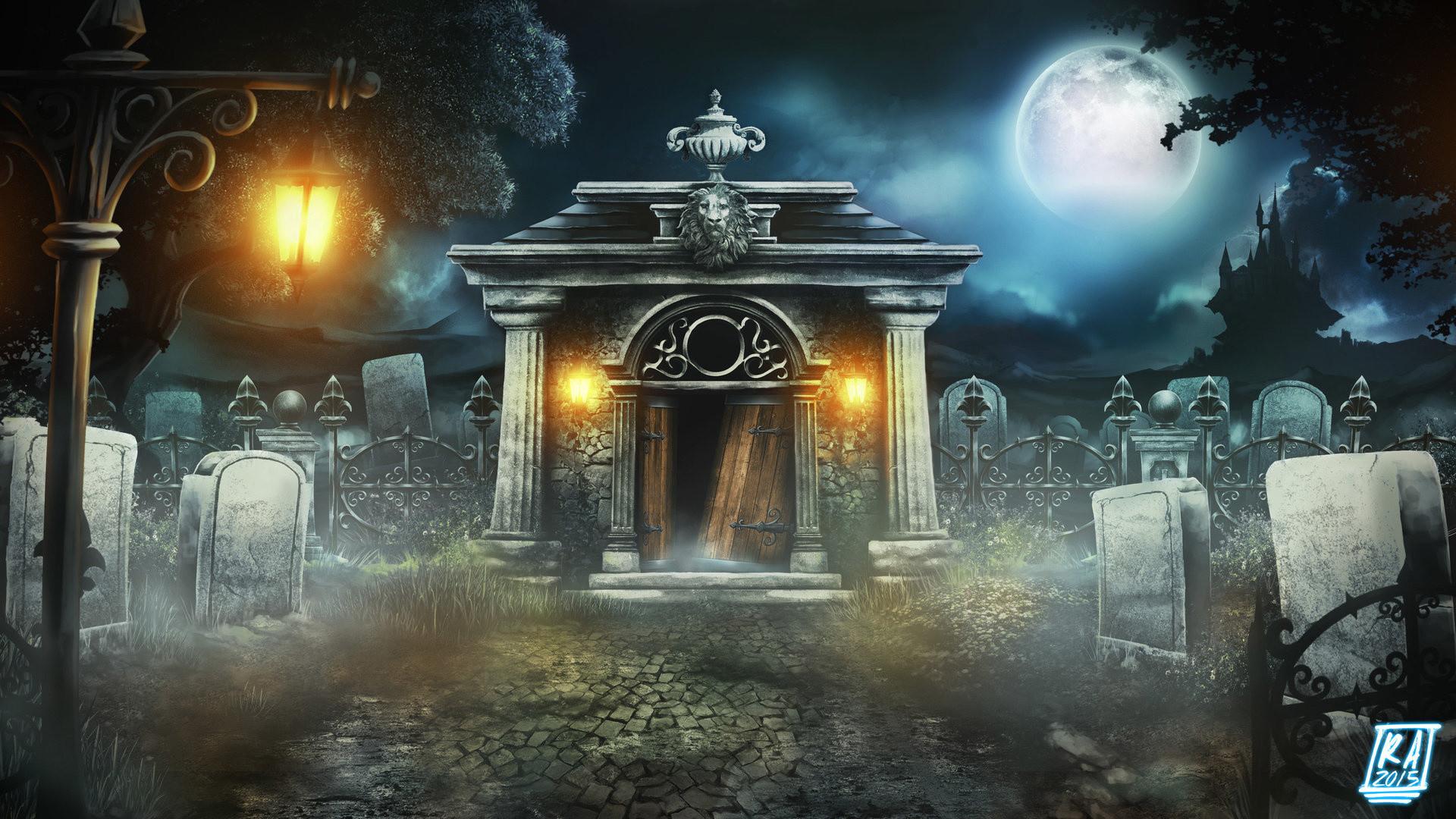 Res: 1920x1080, Halloween, Moon, Moonlight, Dracula Castle, Tombs, Crypt, Halloween Crypt On
