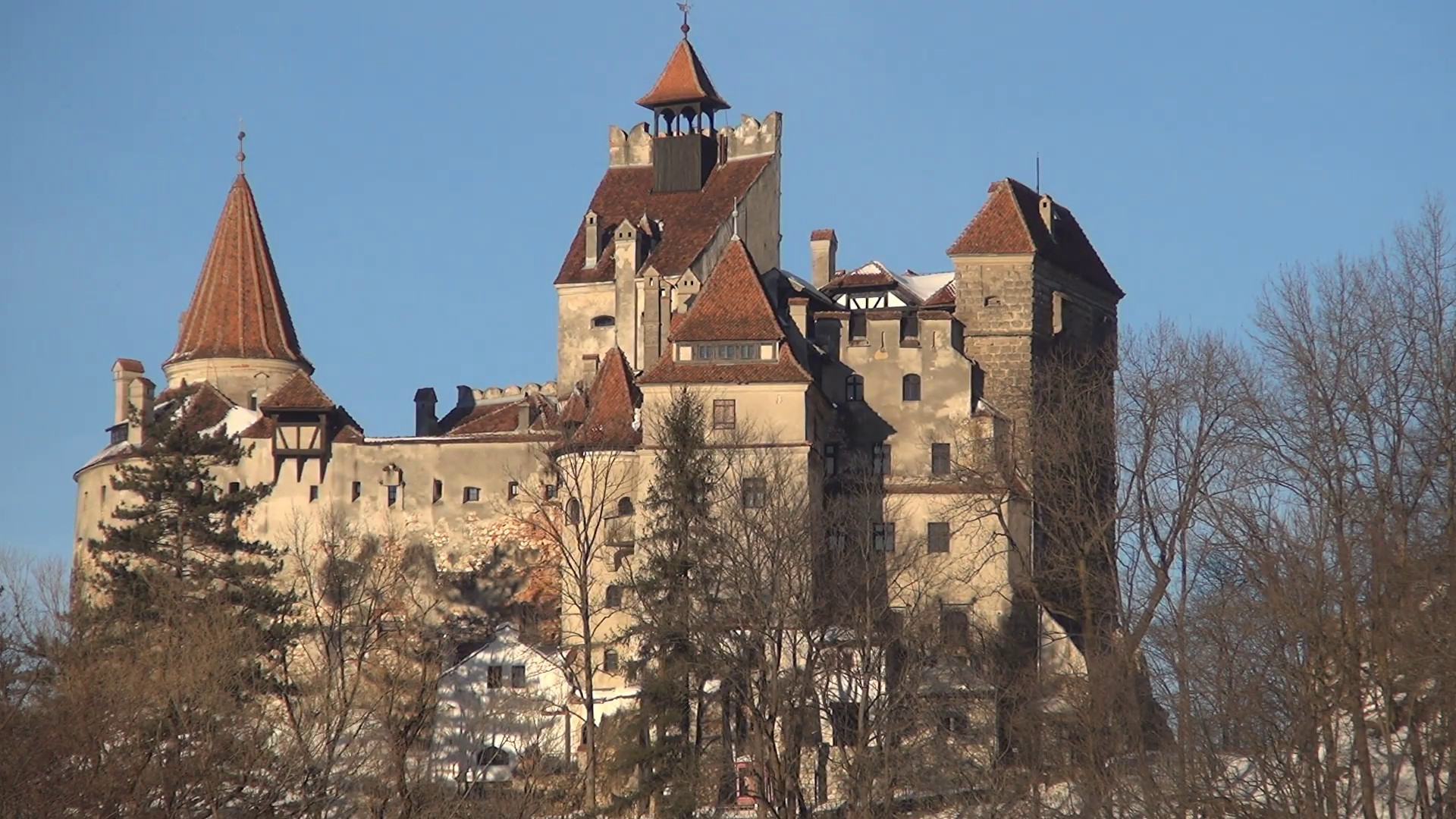 Res: 1920x1080, Legendary Castle of Dracula situated in Carpathian Mountains. Holiday  season view Stock Video Footage - Videoblocks