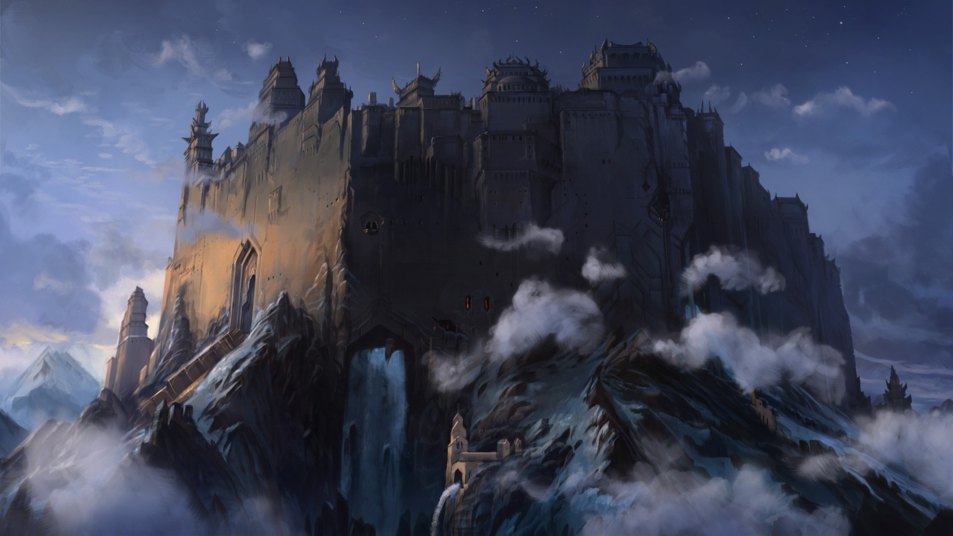 Res: 1920x1080, fantasy Art, Artwork, Clouds, Mountain, Forts, Castle Wallpapers HD /  Desktop and Mobile Backgrounds
