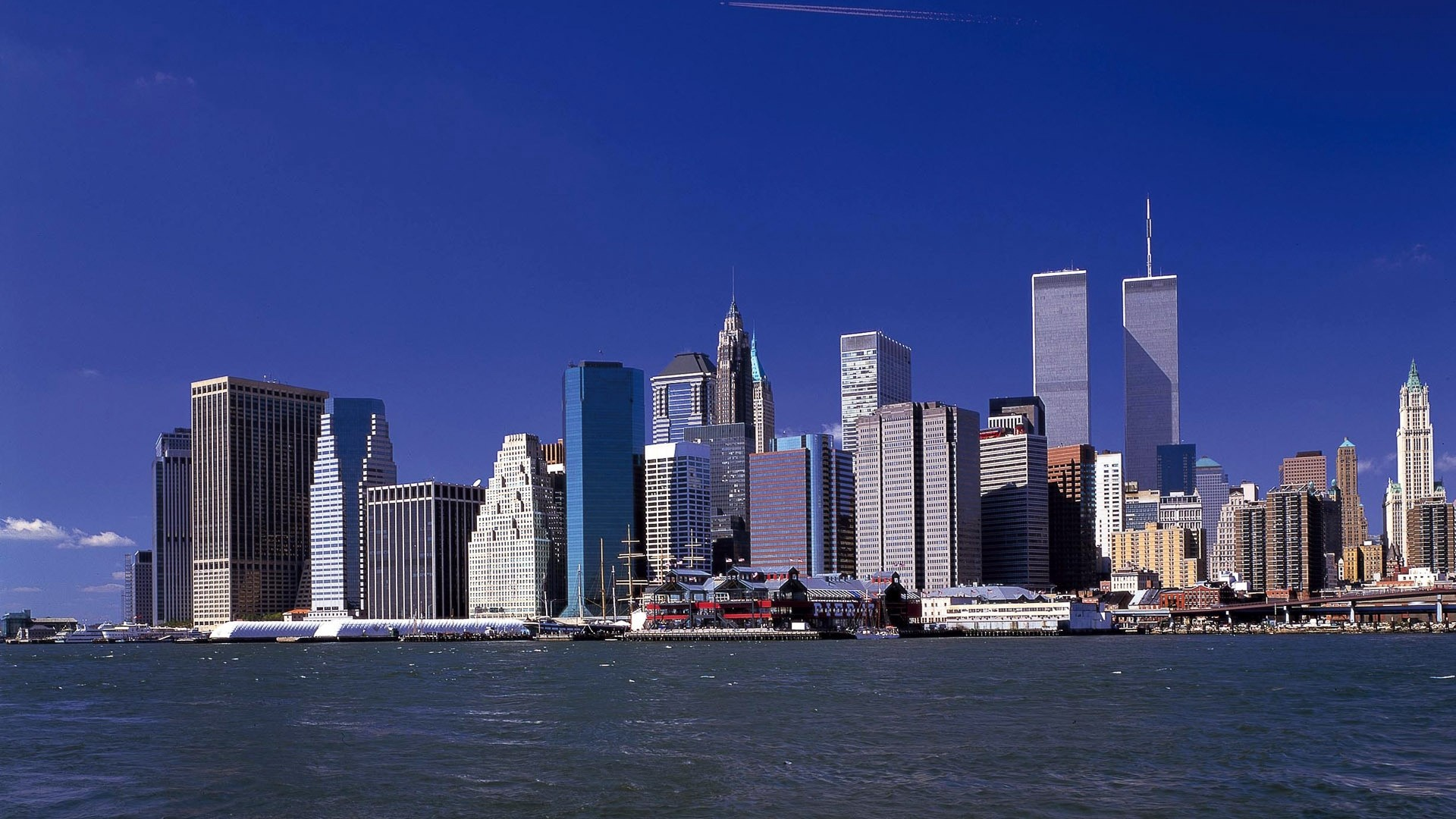 Res: 1920x1080,  Wallpaper twin towers, new york, world trade center, skyscrapers,  river,