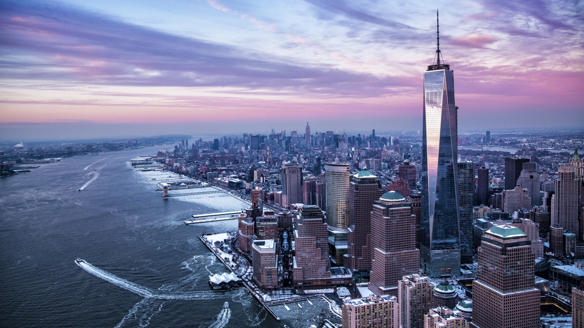 Res: 1920x1080, architecture building skyscraper new york city usa cityscape manhattan one world  trade center sunset clouds ship winter snow wallpaper and background