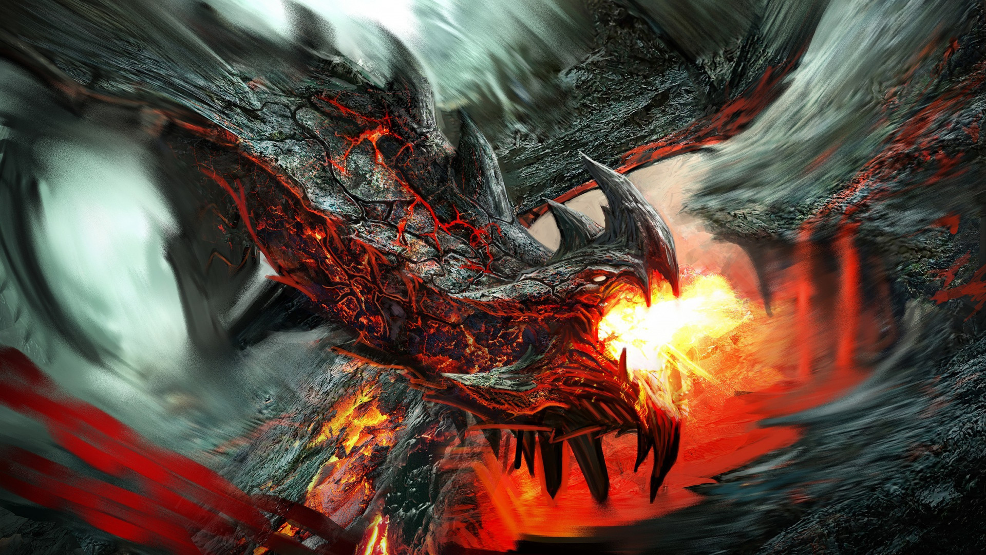 Res: 1920x1080,  Preview wallpaper dragon, fire-breathing, flame, art