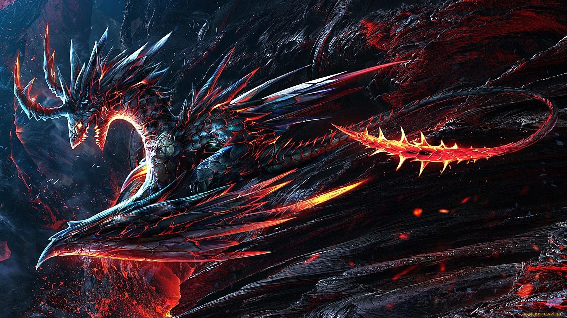 Res: 1920x1080, Wallpaper volcano lava dragon