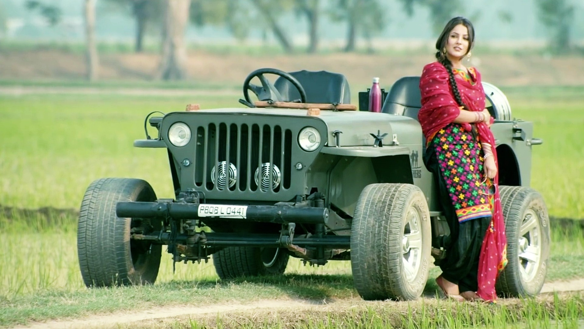Res: 1920x1080, Punjabi Model With Jeep Car Wallpaper 04733