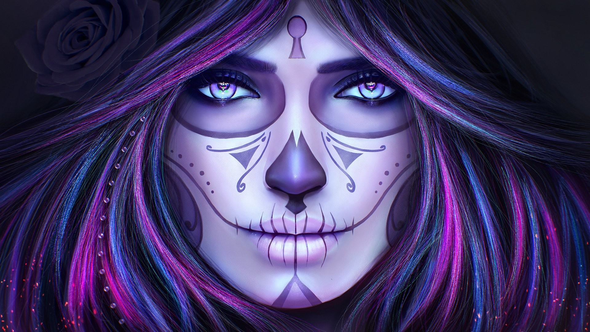 Res: 1920x1080, Artistic - Sugar Skull Face Woman Girl Purple Day of the Dead Wallpaper