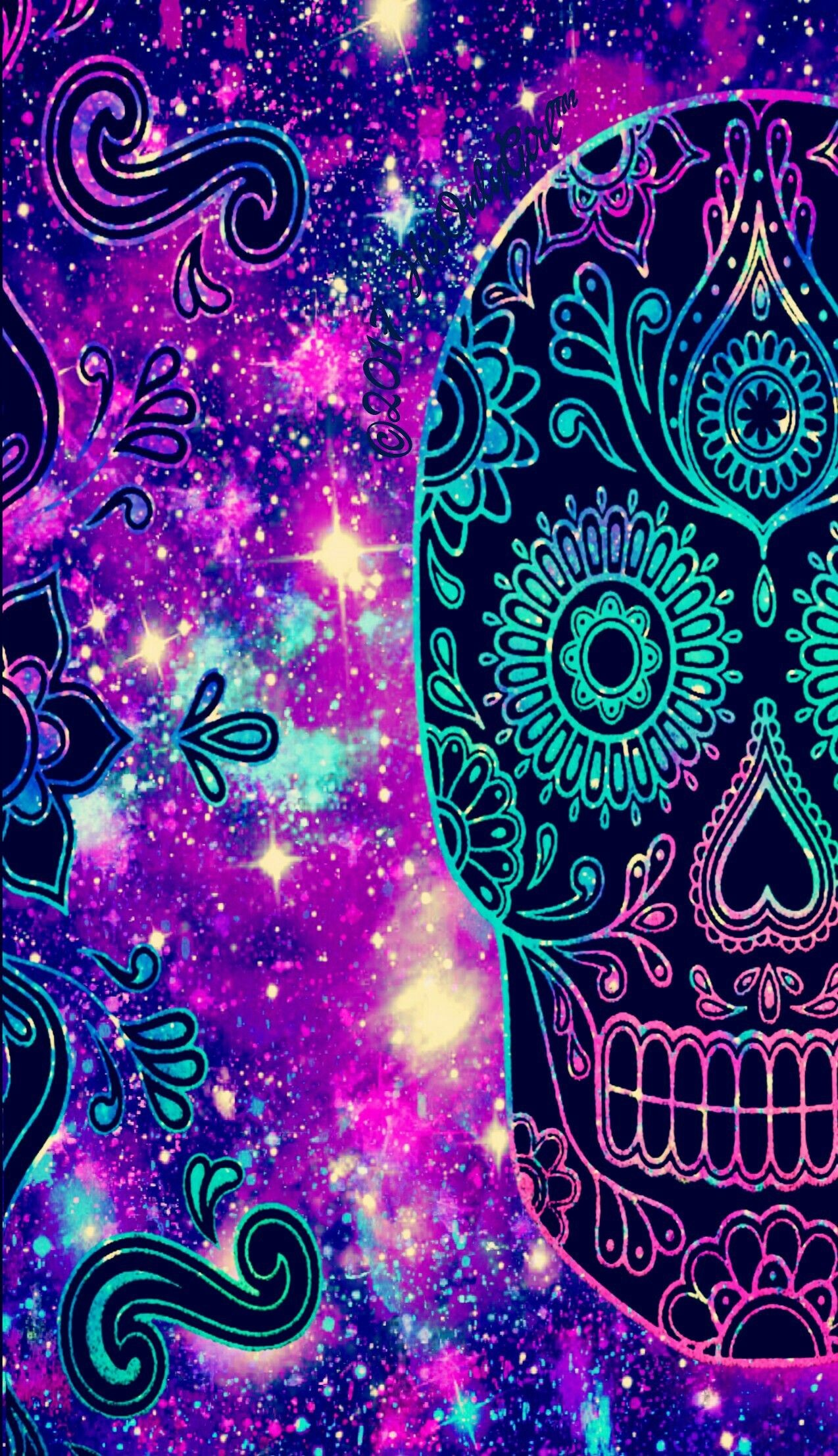 Res: 1274x2214, Colorful Tribal galaxy skull wallpaper I created for the app CocoPPa!