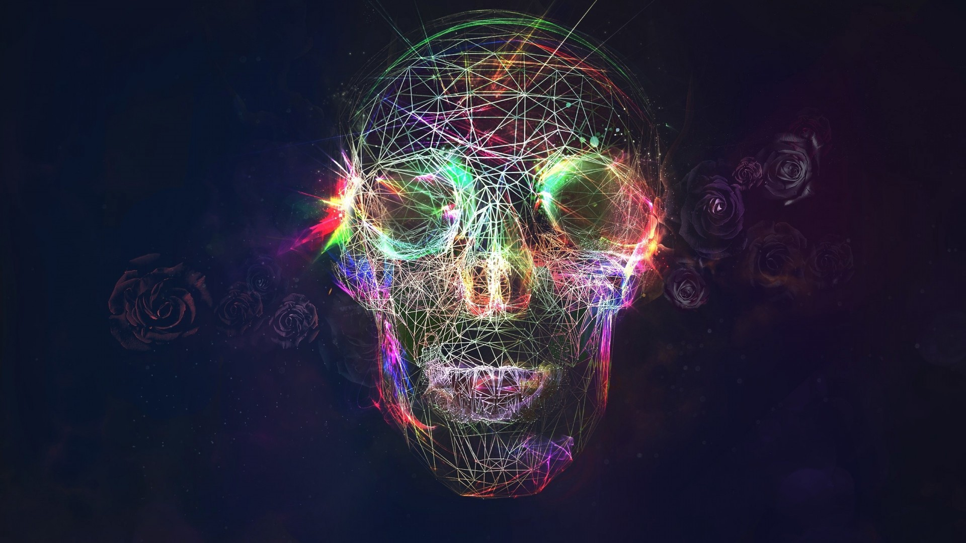 Res: 1920x1080,  Preview wallpaper skull, abstract, bright, background