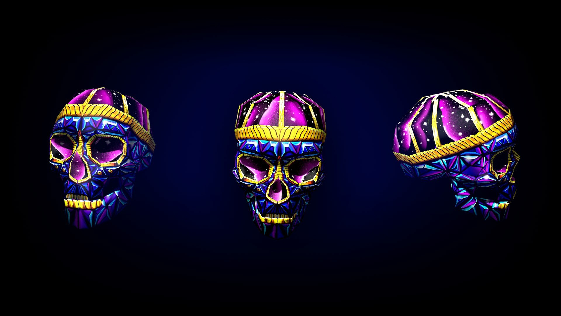 Res: 1920x1080,  Wallpaper skull, art, bright, 3d