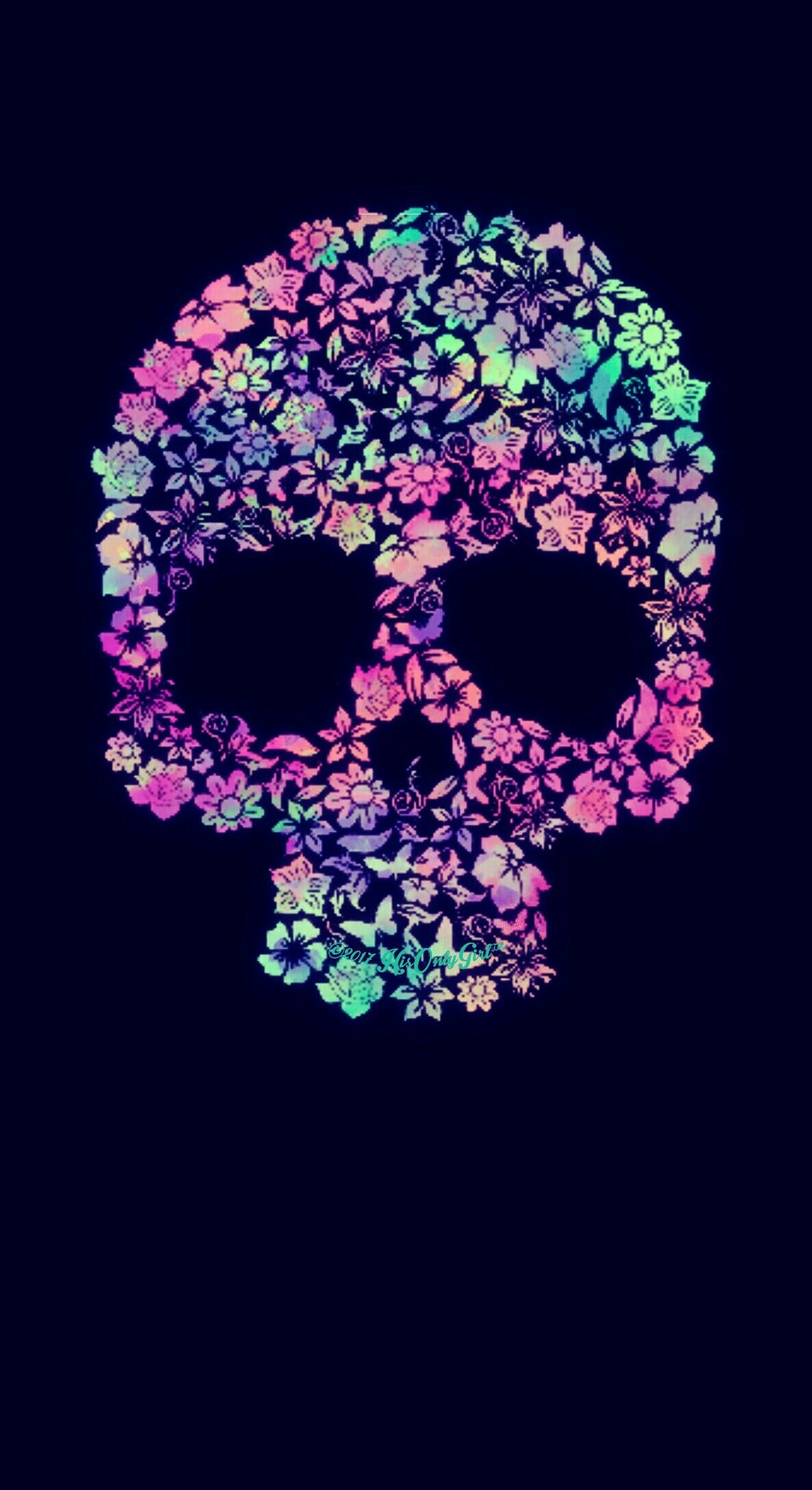 Res: 1186x2175, Sweet floral skull galaxy wallpaper I created for the app CocoPPa!