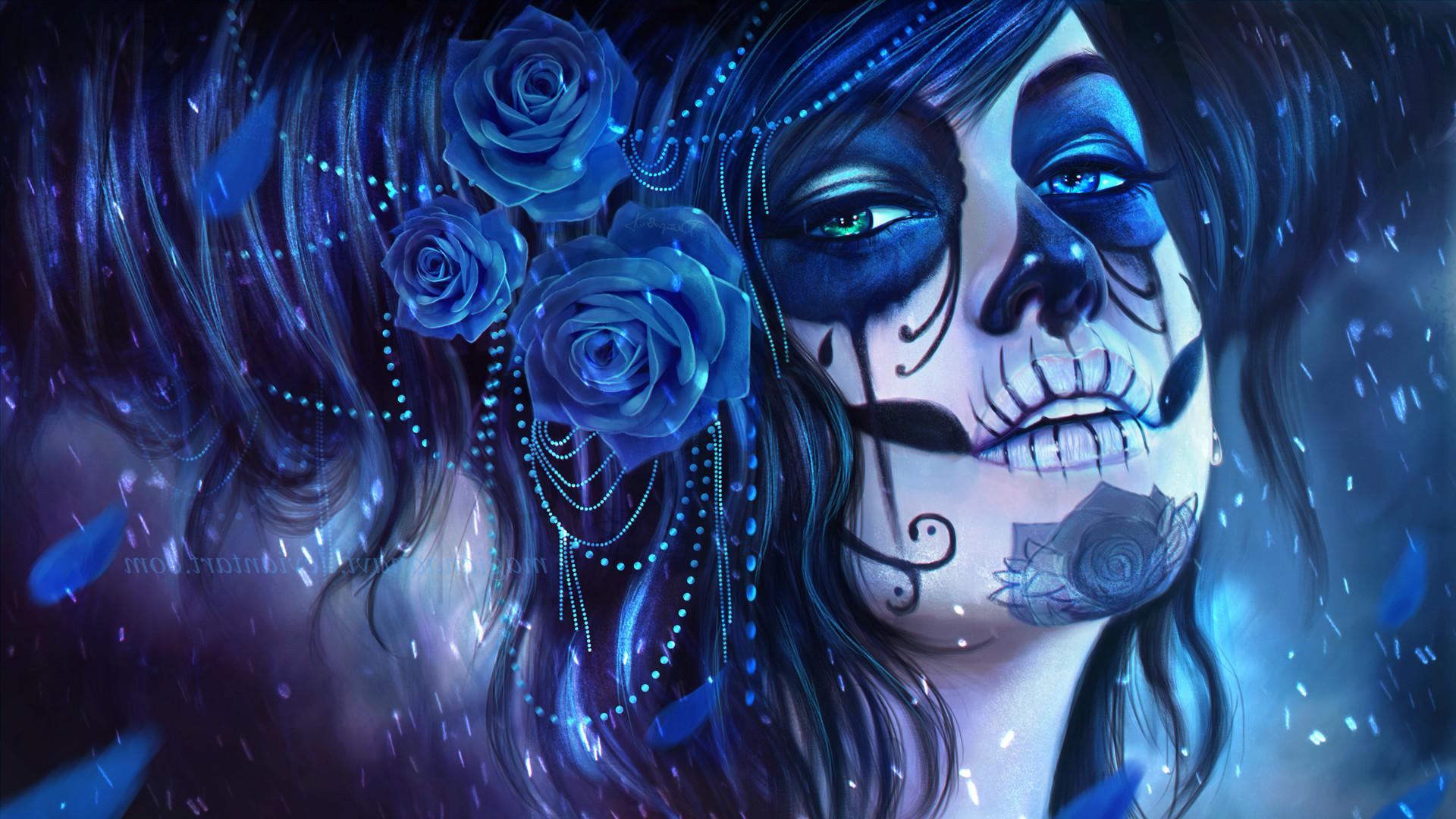 Res: 1920x1080, Sugar Skull, MagicnaAnavi, Rose, Artwork, Blue Flowers Wallpapers HD /  Desktop and Mobile Backgrounds