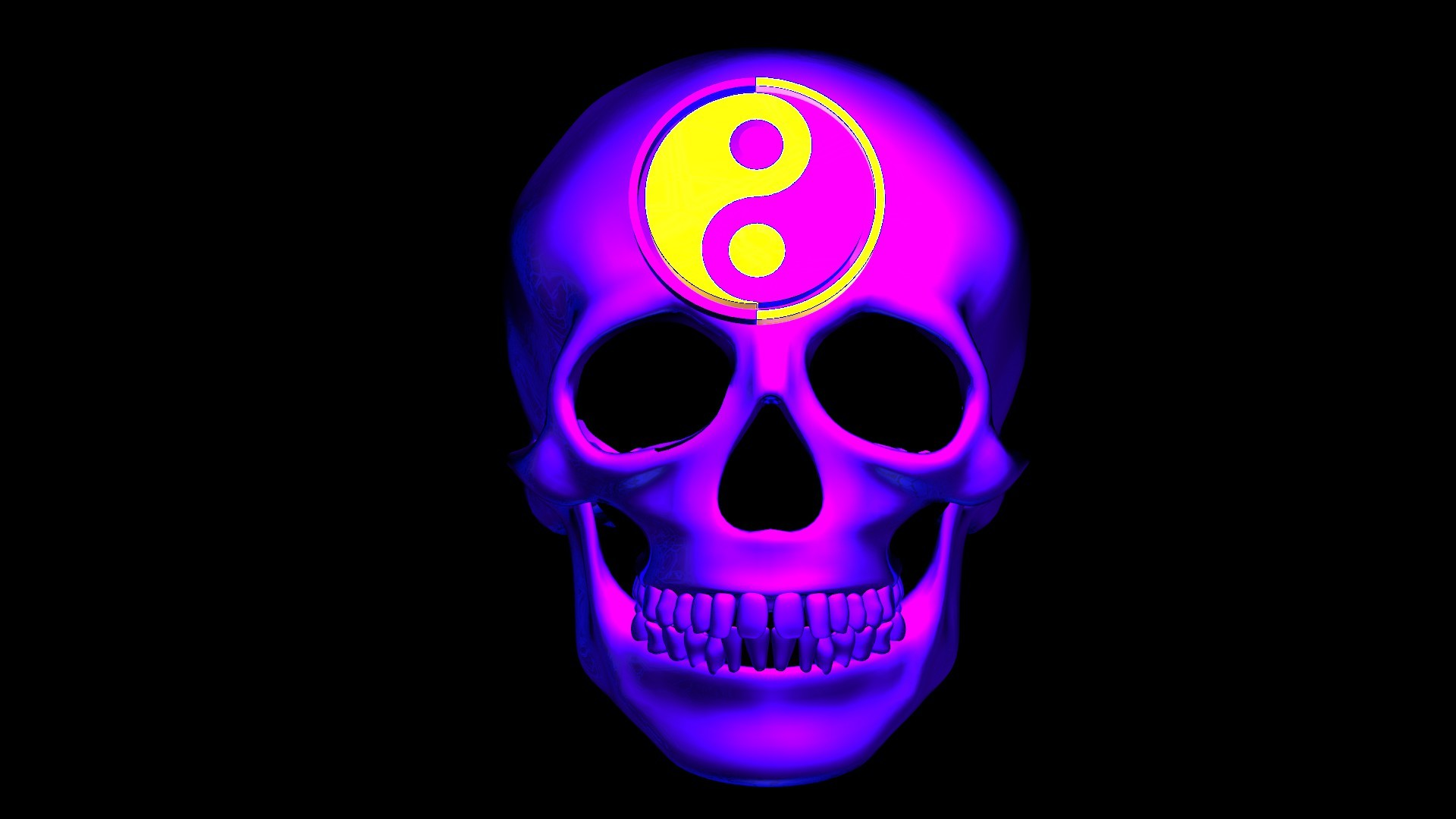 Res: 1920x1080, ... Freaky Neon Skull With Yin Yang Symbol by JGH24