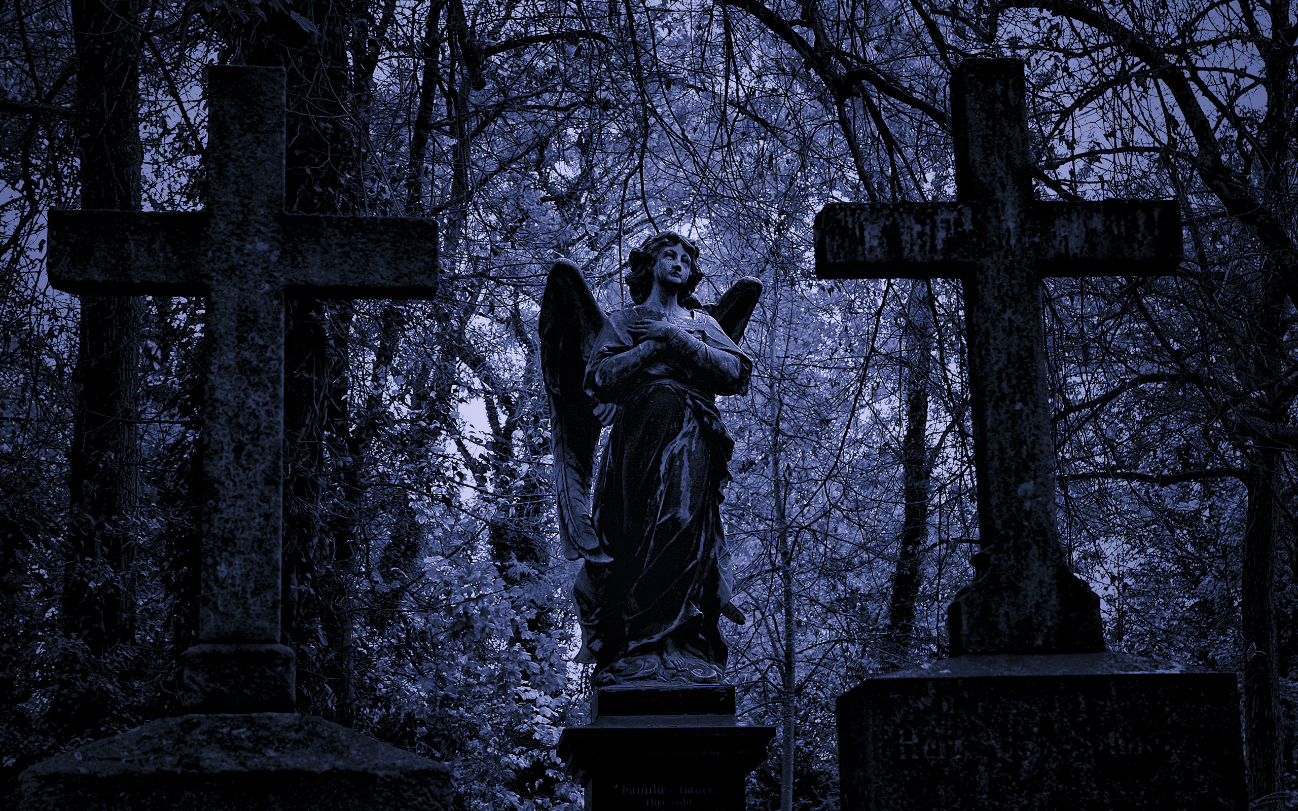 Res: 2560x1600, Angel Cross Trees Cemetery Tombstones Graves HD wallpaper thumb