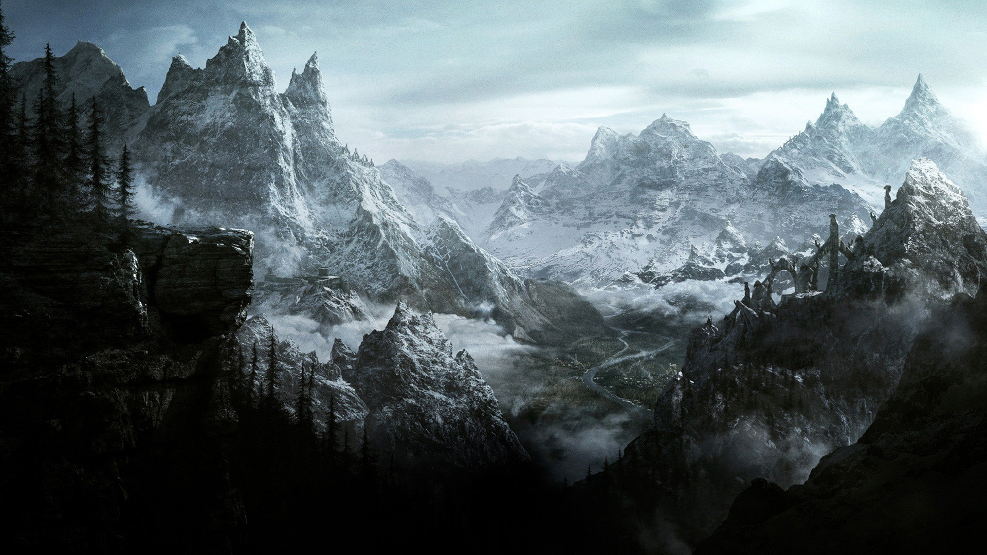 Res: 1920x1080,  Cross Celtic Fantasy Gallic Warrior Nordic Myth North Paganism  Forest Nature Wood Barbarian Mountain Celts