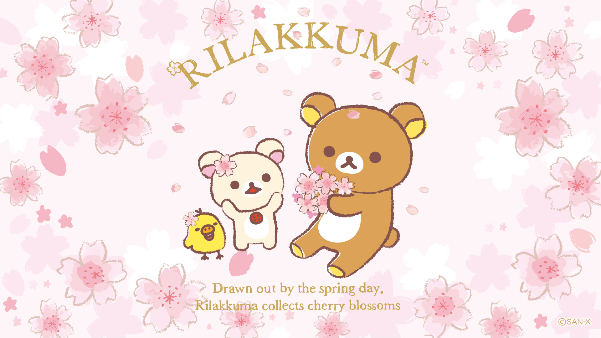 Res: 1920x1080, San-X Rilakkuma Cherry Blossoms Wallpaper