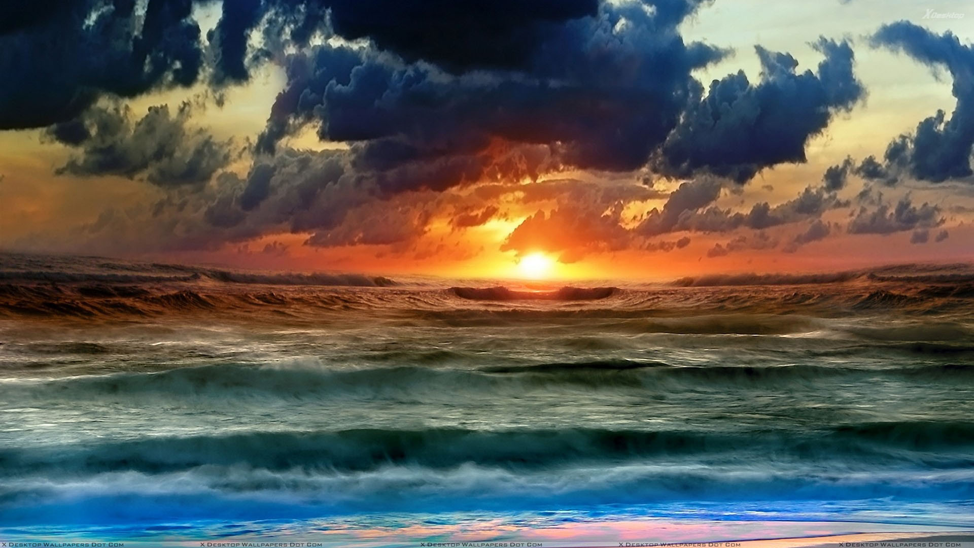 """Res: 1920x1080, You are viewing wallpaper titled """"Sunset Scene Near Sea ..."""