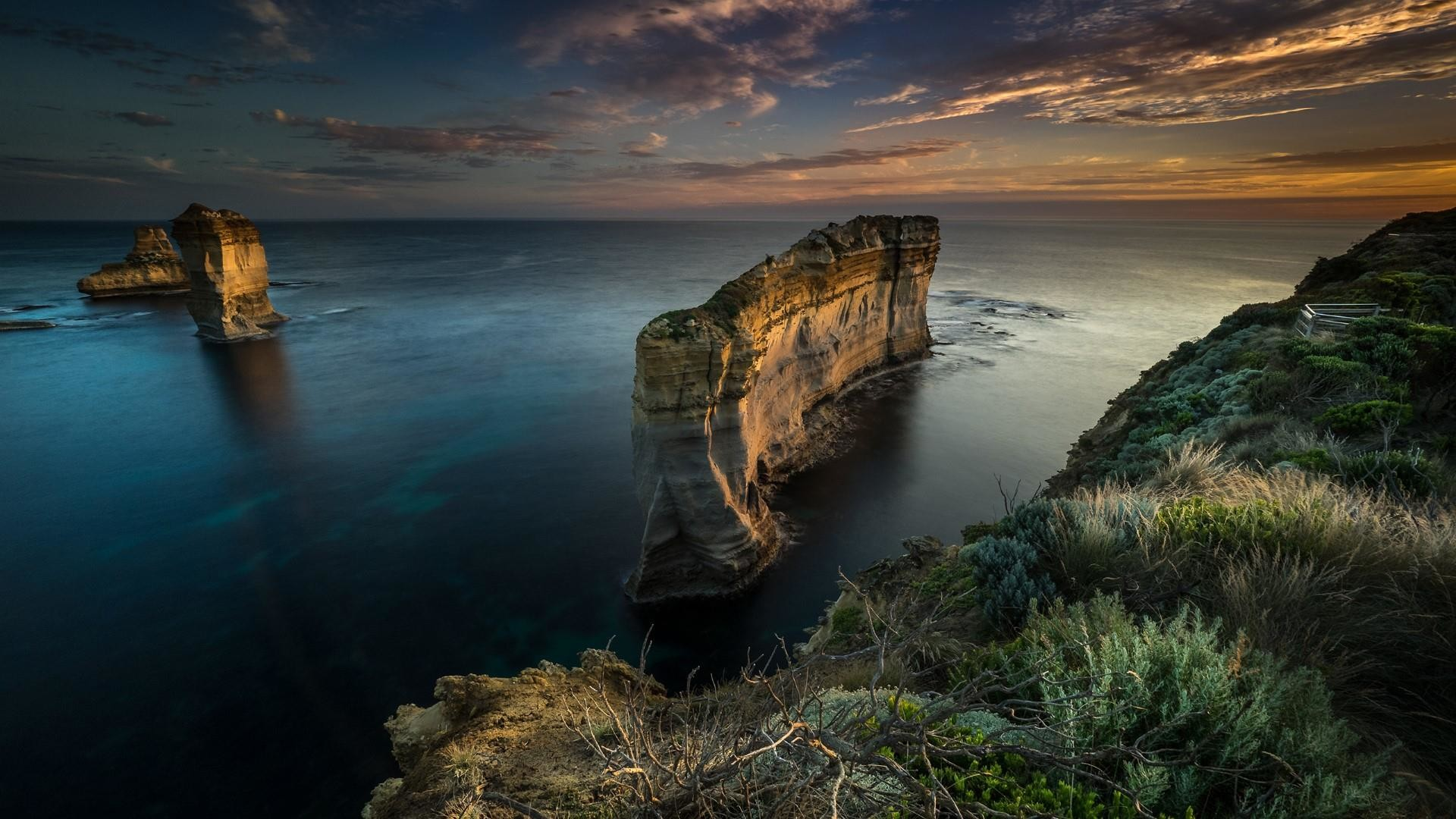 Res: 1920x1080, Sunset Scene From The Great Ocean Road, Victoria, Australia Wallpaper |  Wallpaper Studio 10 | Tens of thousands HD and UltraHD wallpapers for  Android, ...
