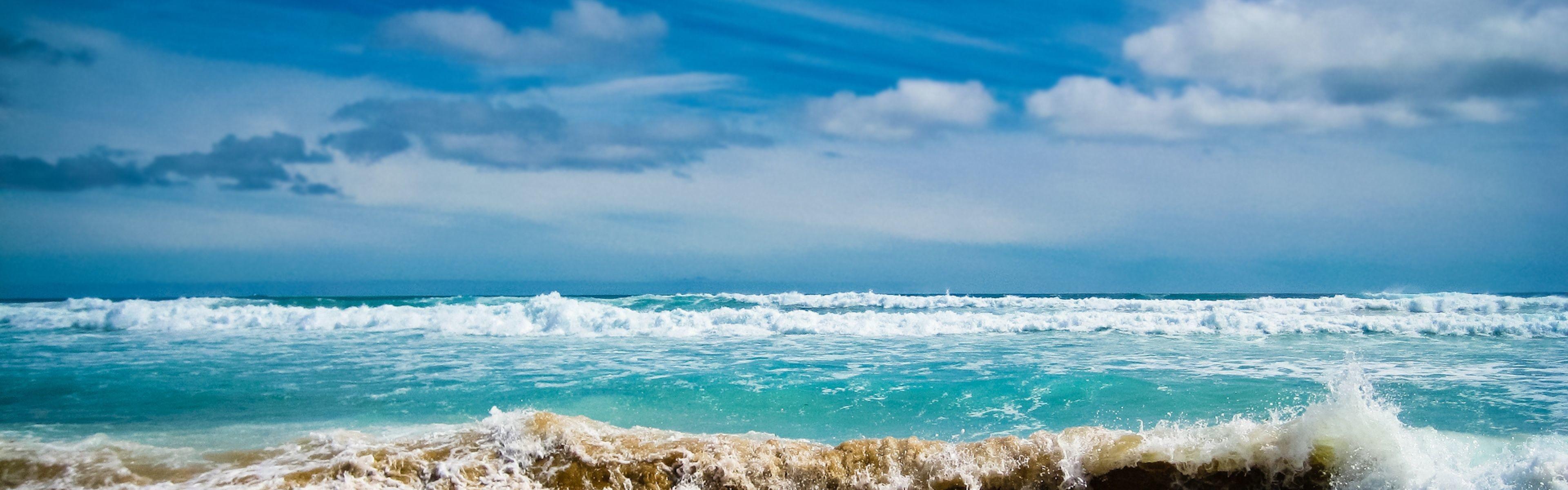 Res: 3840x1200, Beautiful Beach Scenery | Wallpapers Sea Ocean Blue Hd Beautiful Beach Scene  P Os Heavy