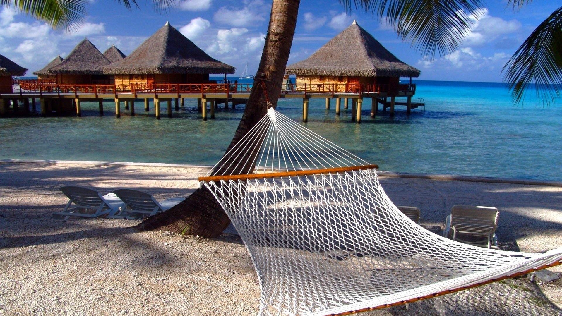 Res: 1920x1080, ocean scene summer houses hammock beach wallpaper hd download